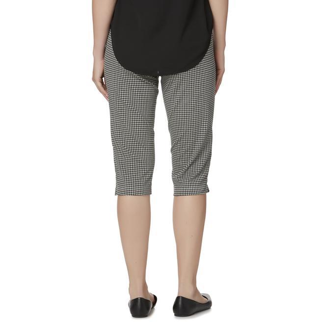 Basic Editions Women\'s Capri Leggings - Houndstooth Check