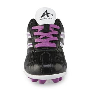 494cdbf0c Athletech Girl s Black White Purple Soccer Cleat