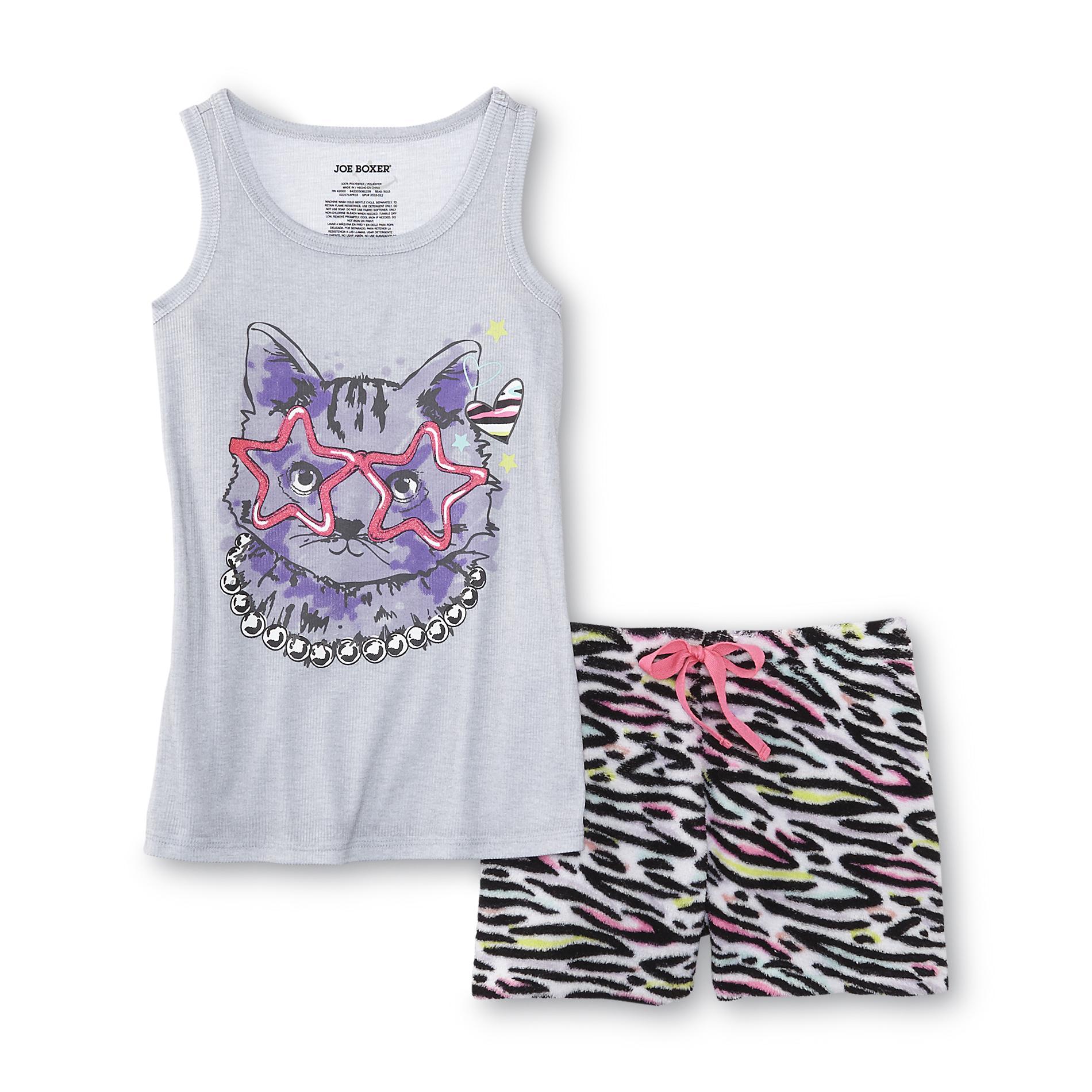 Girl's Pajama Tank Top & Fleece Shorts - Cat