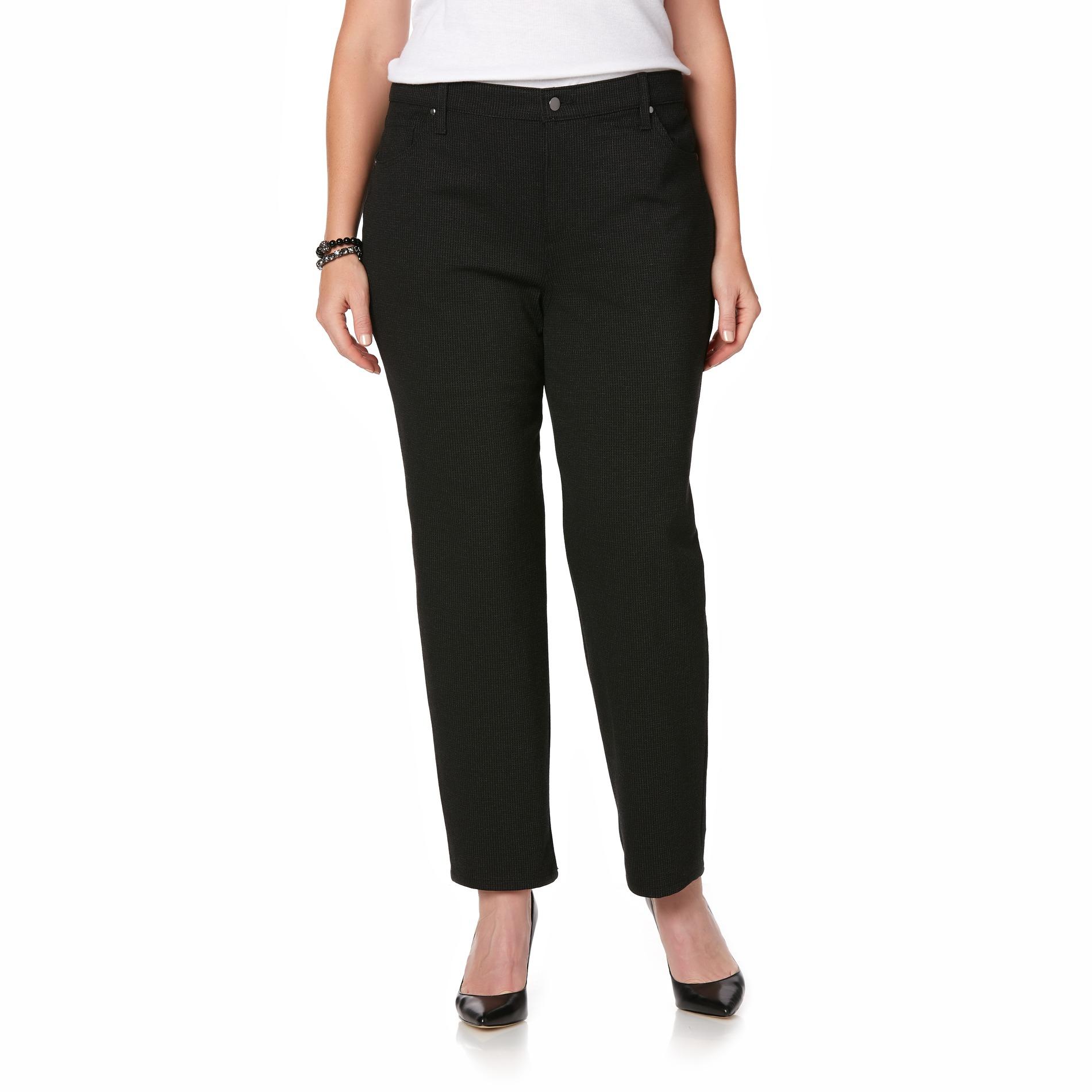 0413ec6482076 Simply Emma Women's Plus Ponte Knit Pants - Checkered