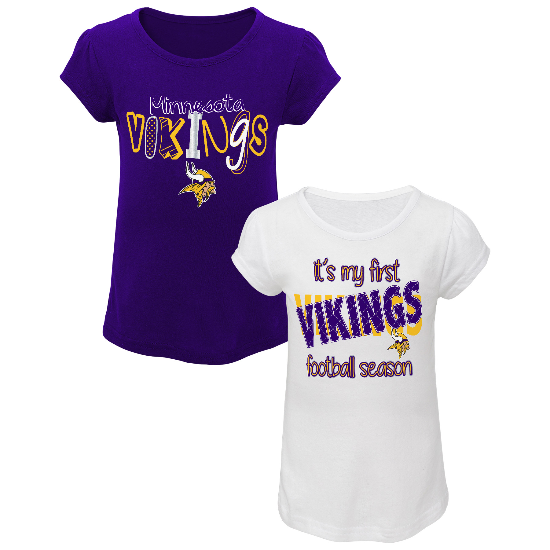 NFL Toddler Girls' 2-Pack Graphic T-shirts - Minnesota Vikings PartNumber: 046VA99068112P MfgPartNumber: 14AUZ-13