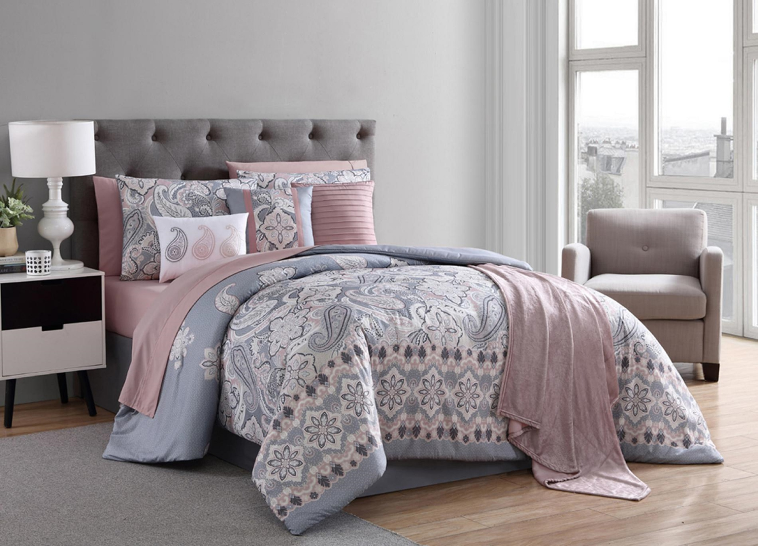 Essential Home 12pc. Comforter Set U0026#8211; Gray And Blush Paisley