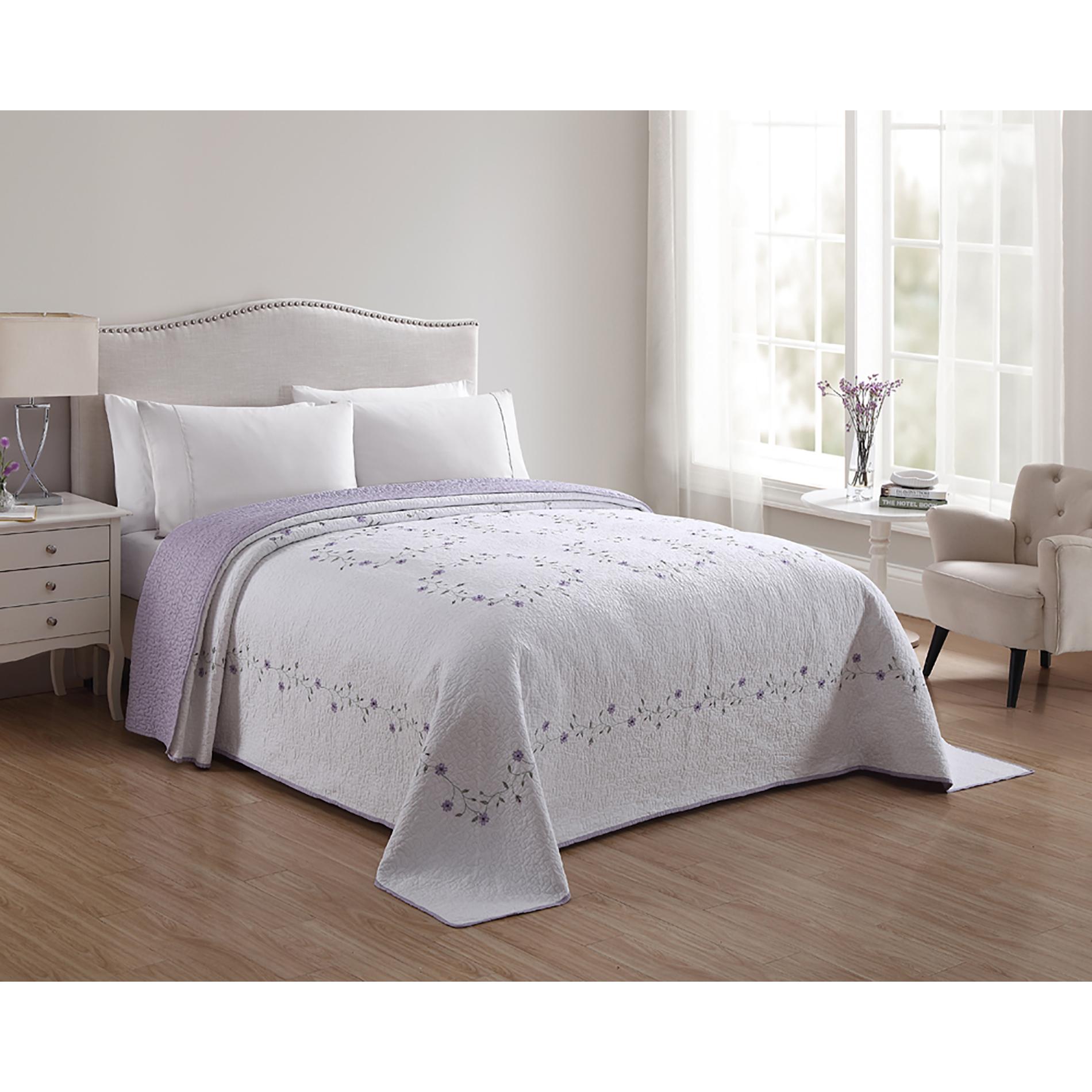 Cannon Floral Bedspread - Purple