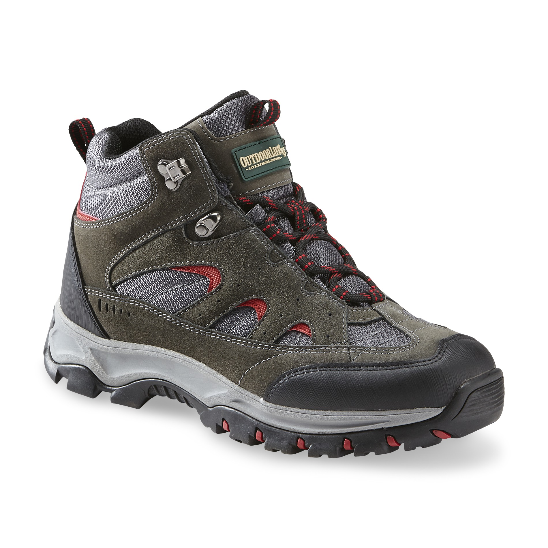 Outdoor Life Men's Lewis Suede/Mesh Hiking Boot -Gray/Red/Black PartNumber: 067VA77823512P MfgPartNumber: 49509