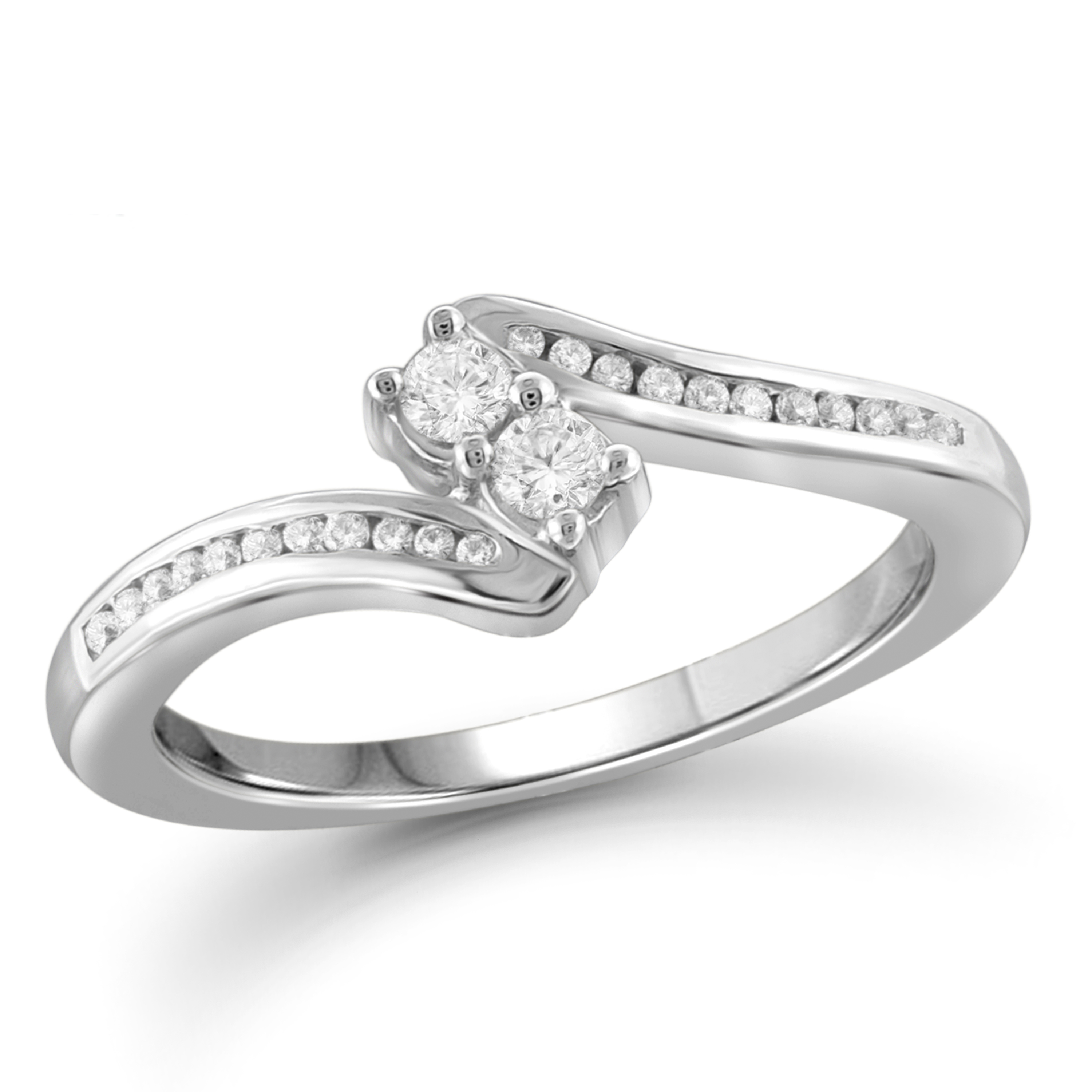 Tradition Diamond 10K White Gold .25CTTW Certified Round Diamond Channel Set Bypass Ring
