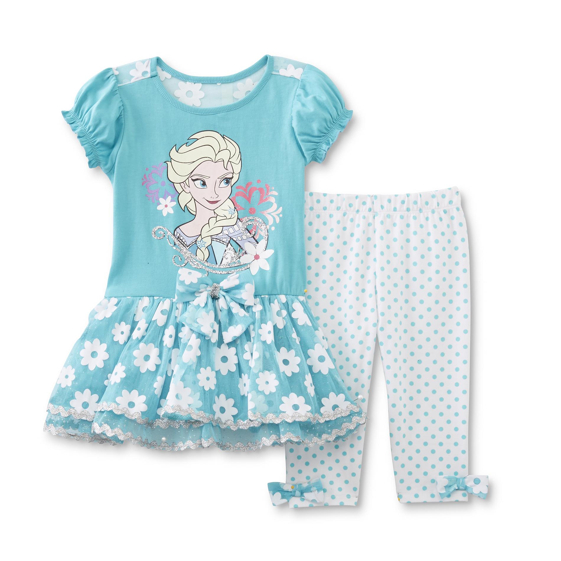 Disney Baby Frozen Toddler Girl's Tunic Top & Leggings - Queen Elsa