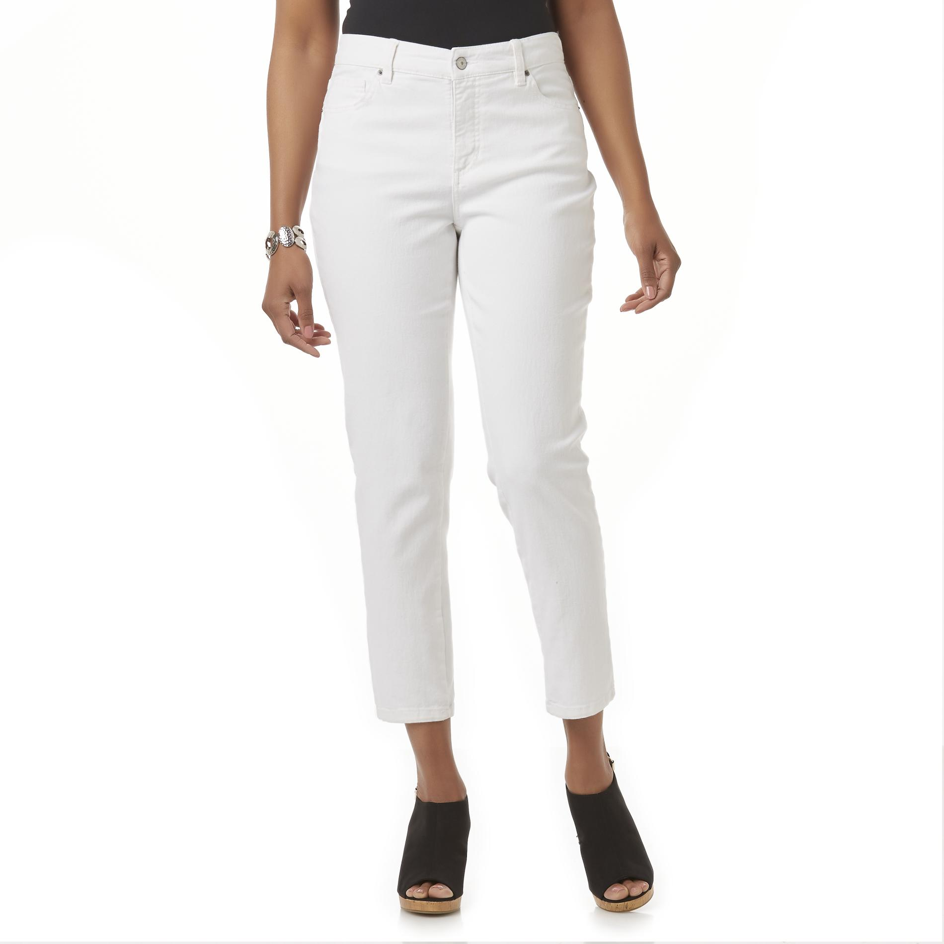 Basic Editions Women's Straight Leg Ankle Jeans