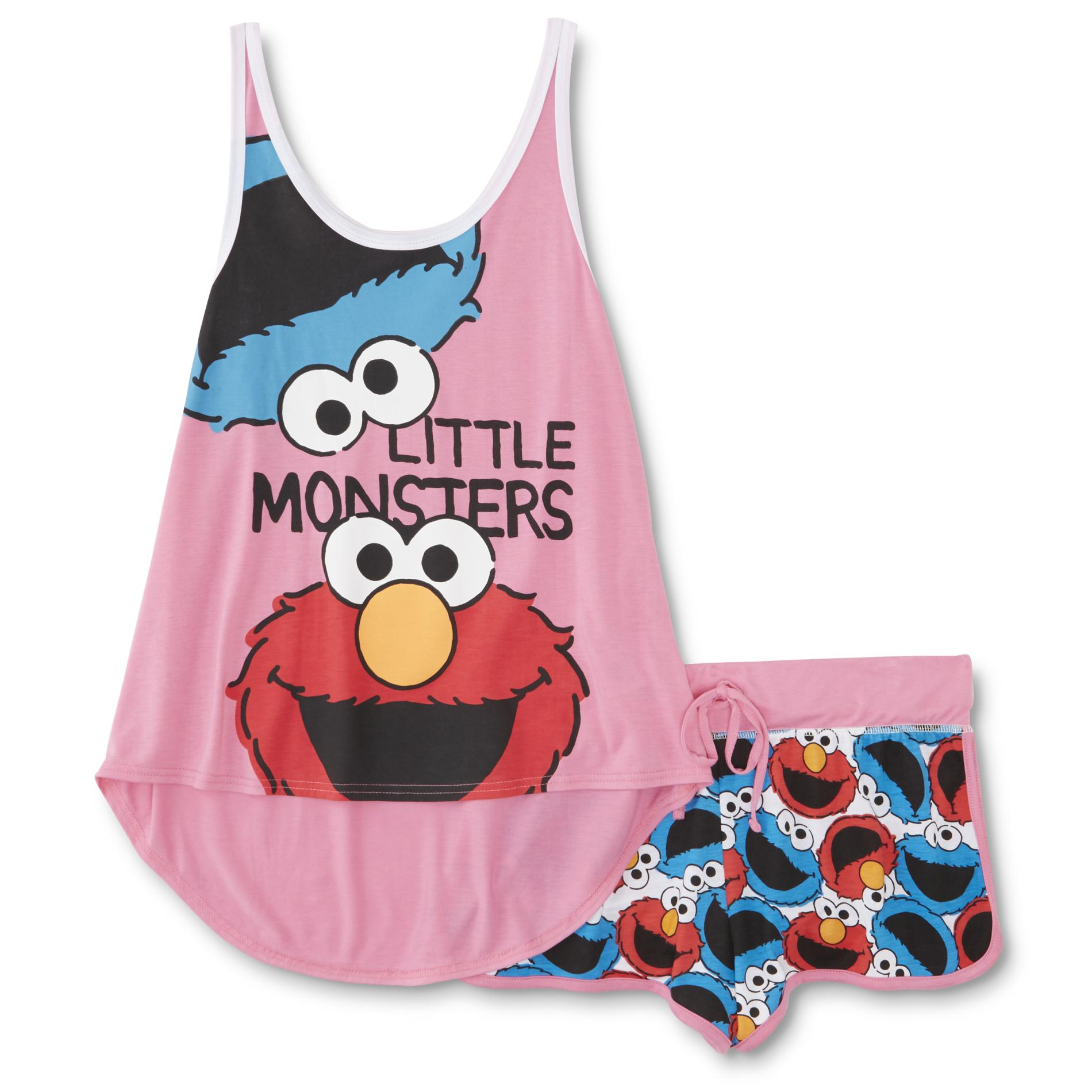 Sesame Street Cookie Monster & Elmo Women's Pajama Tank Top & Shorts