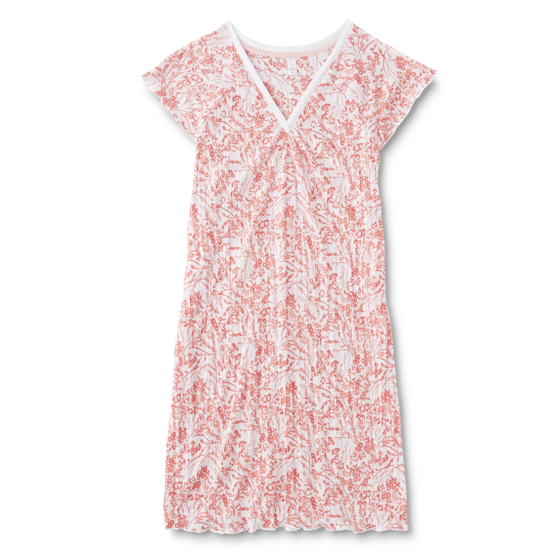 Pink K Women's Plus Printed Nightgown - Floral