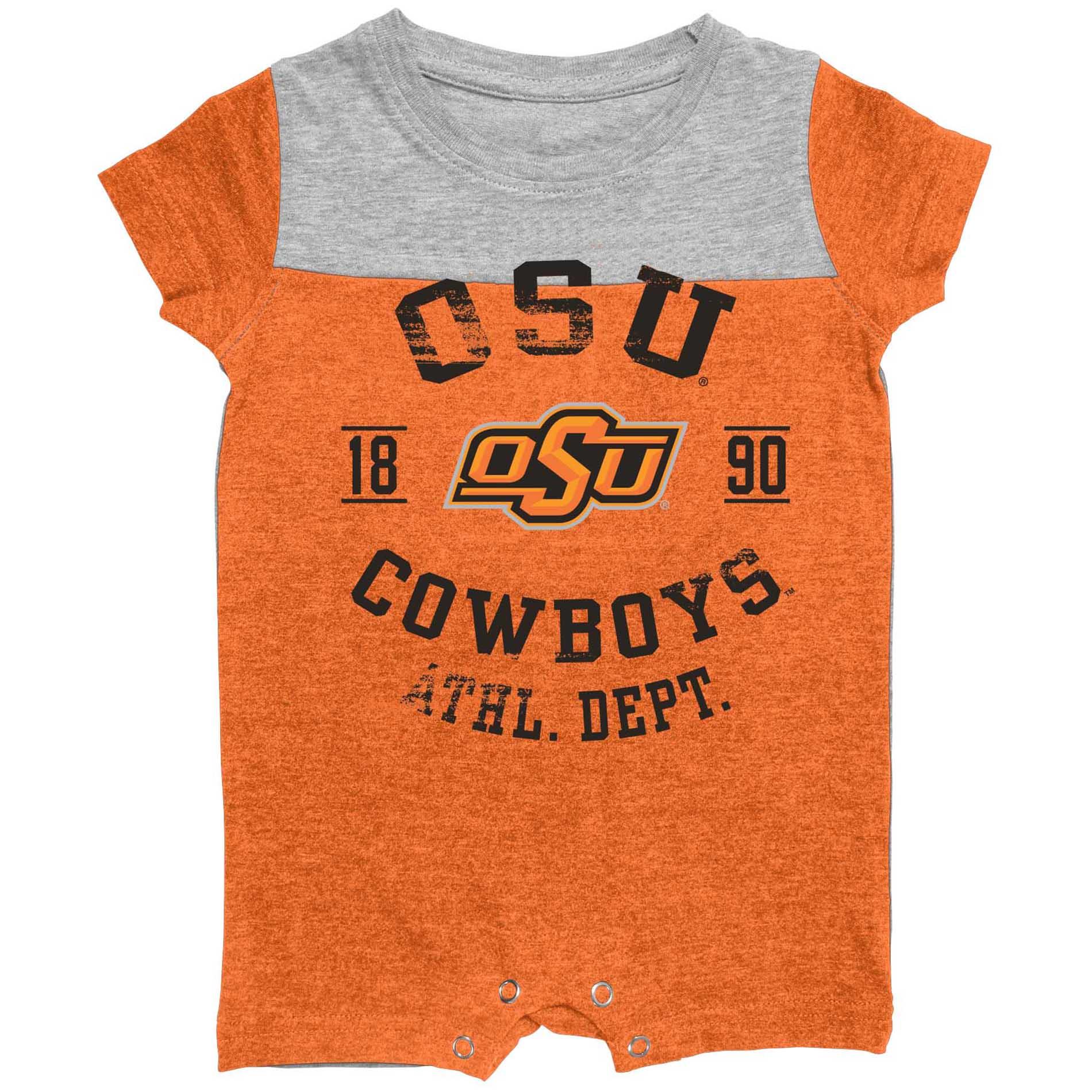 Infant Oklahoma State University–Stillwater Cowboys and Cowgirls Romper PartNumber: 046VA88333812P MfgPartNumber: 7ARJC05KMF