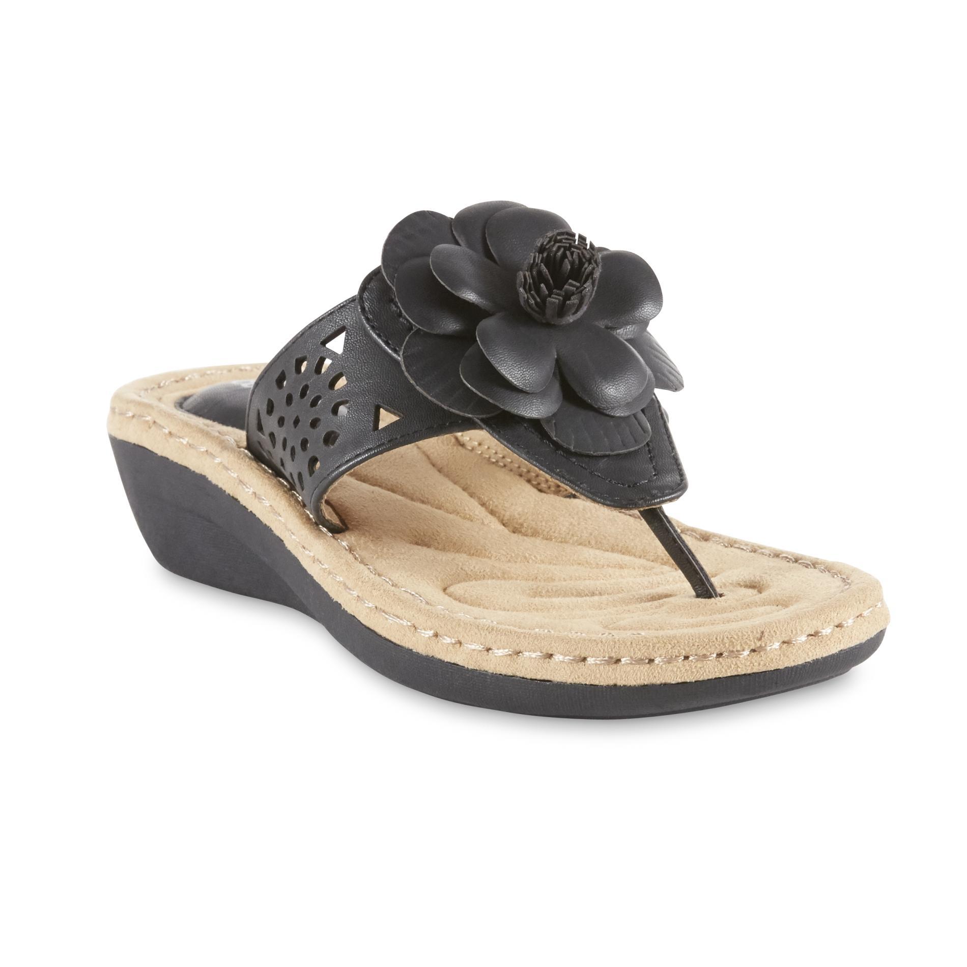 Cobbie Cuddlers Women S Talullah Wedge Thong Sandal Black
