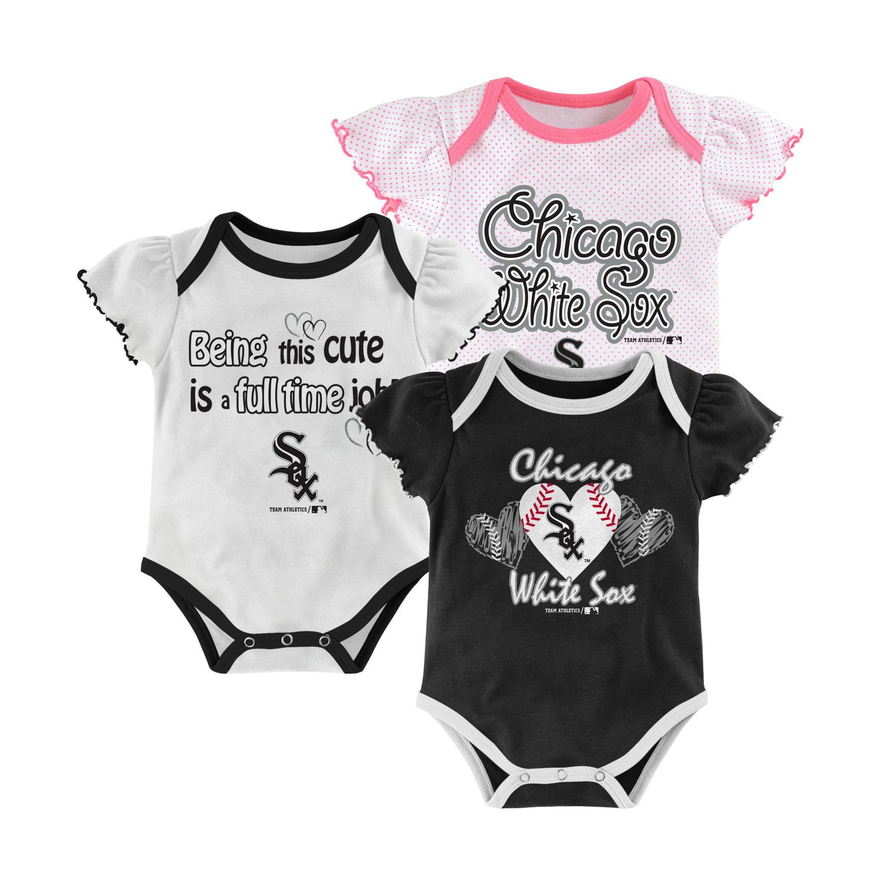 Newborn & Infant Girl's 3-Pack Bodysuits - Chicago White Sox