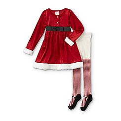 bc41460c9df62 WonderKids Infant's & Toddler Girls' Christmas Dress & Tights - Mrs. Claus