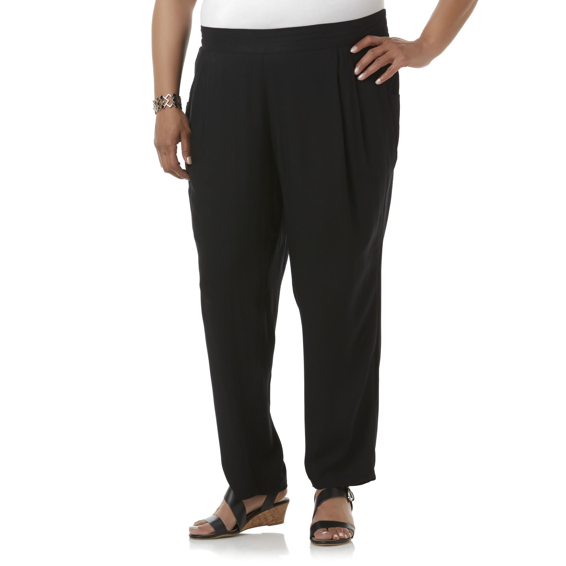 Basic Editions Women's Plus Challis Pants
