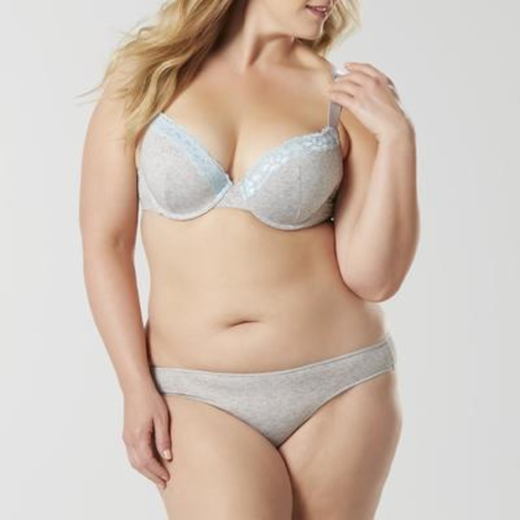 Women's Plus Lace Bra & Bikini Panties, Size: 40 B, Tabby Grey Grey