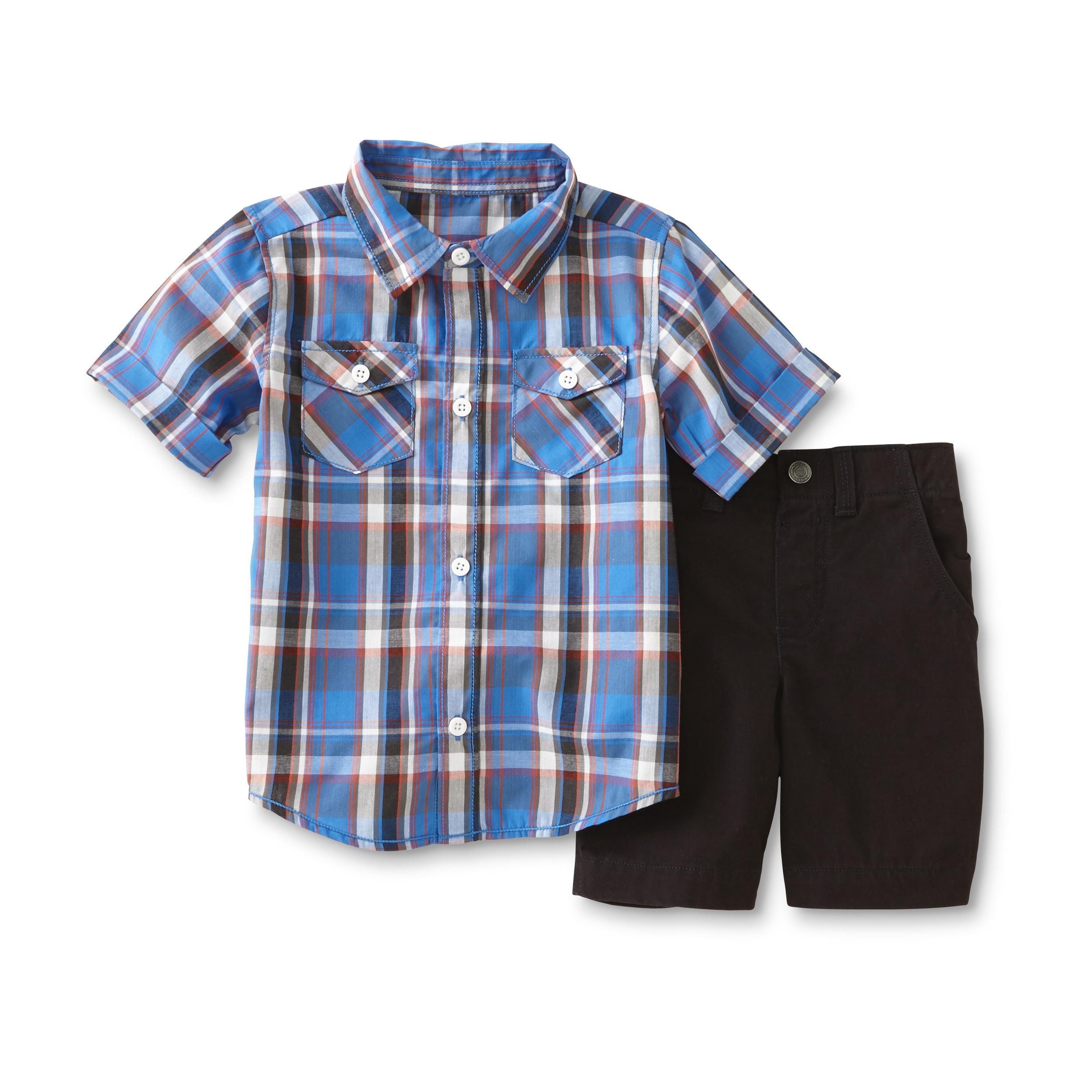 WonderKids Infant & Toddler Boy's Button-Front Shirt & Shorts - Plaid