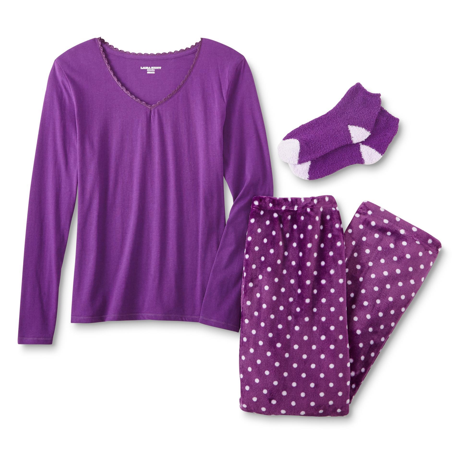 Laura scott women 39 s pajama shirt pants socks dots for Women s flannel sleep shirt