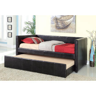 Furniture of america kipo leatherette daybed with trundle for Furniture of america daybed