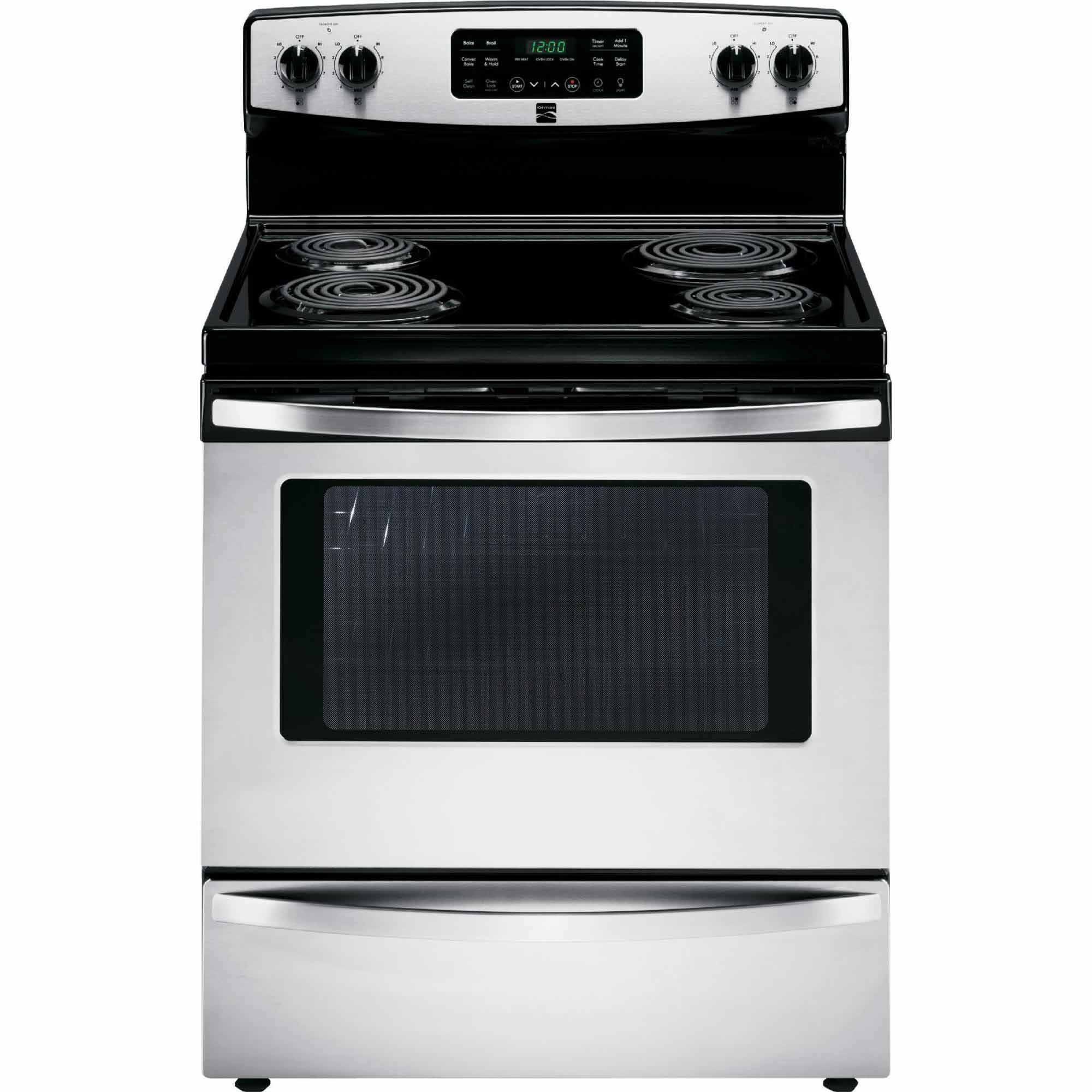 kenmore electric stove. kenmore 94153 5.4 cu. ft. self-cleaning electric range w / convection oven - stainless steel stove
