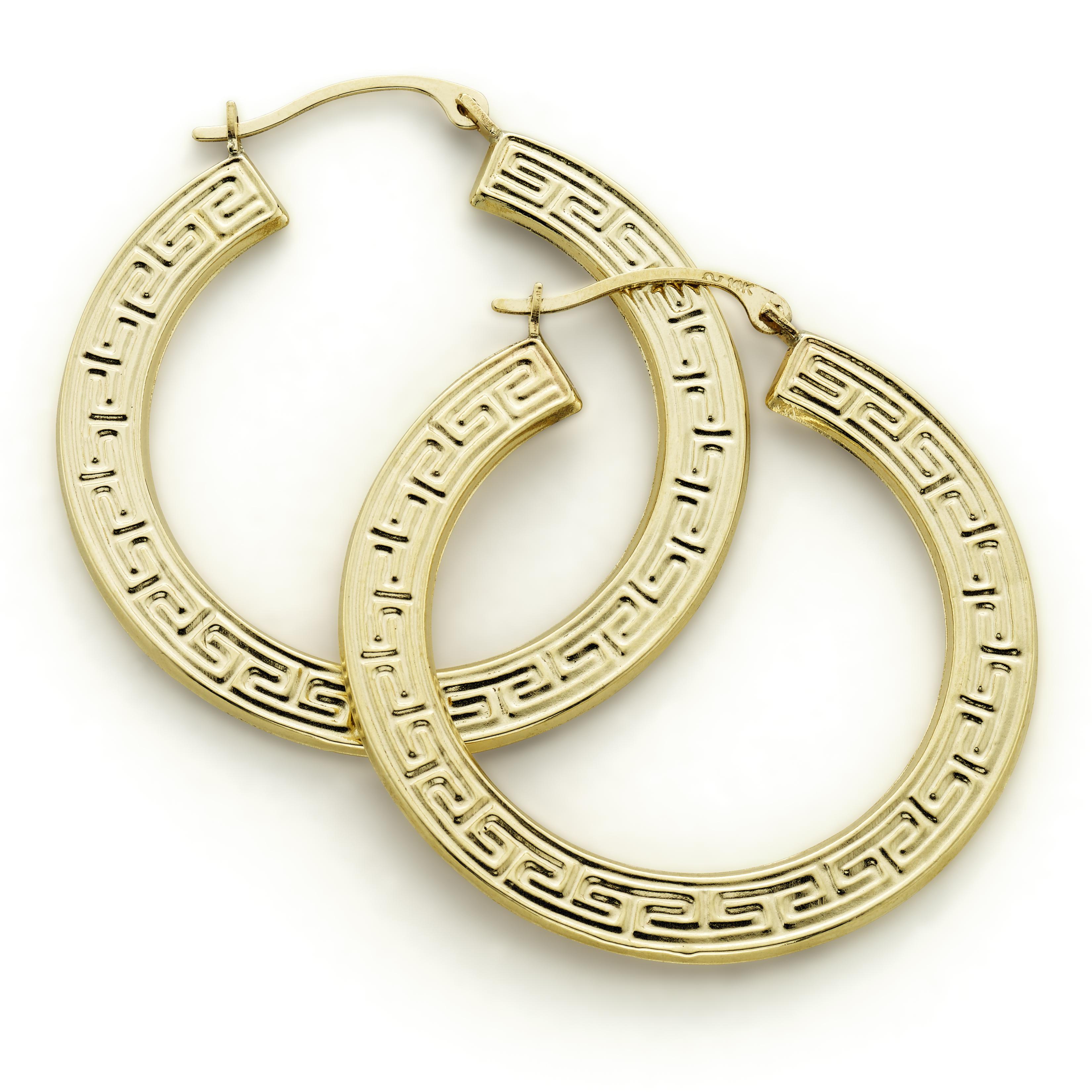 10K Yellow Gold Greek Key Earring