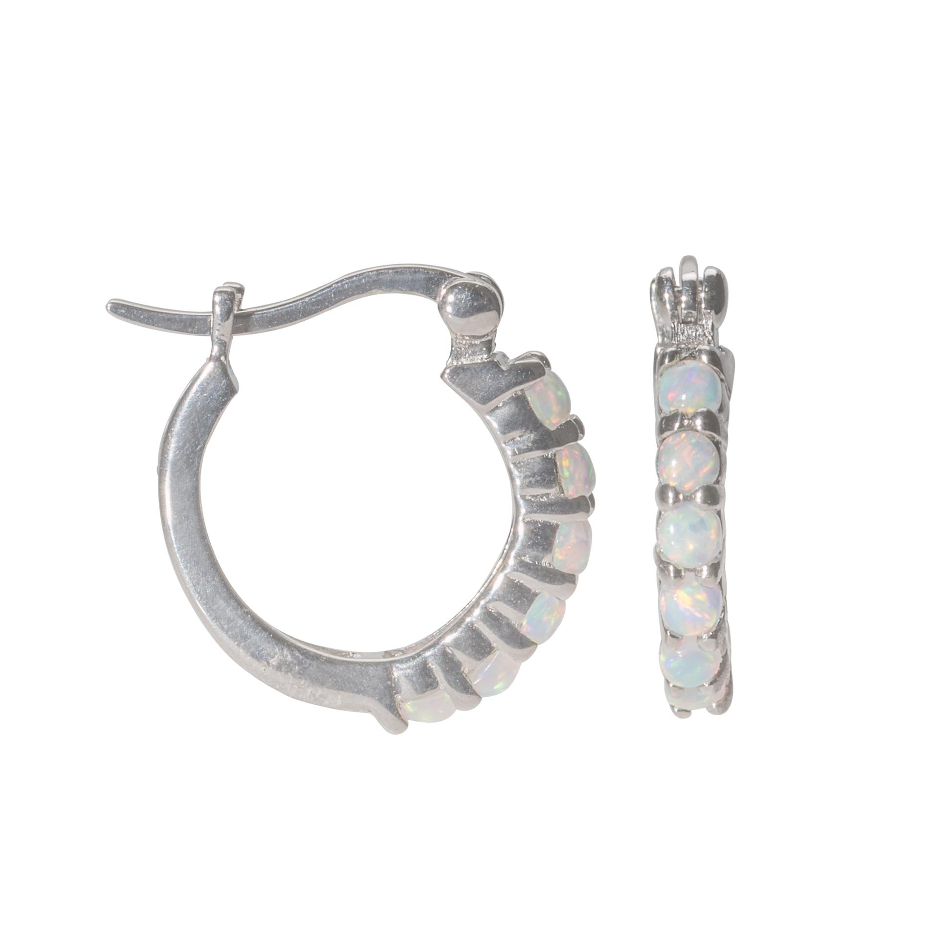 2.5mm Round Lab Created Opal Hoop Earrings Sterling Silver