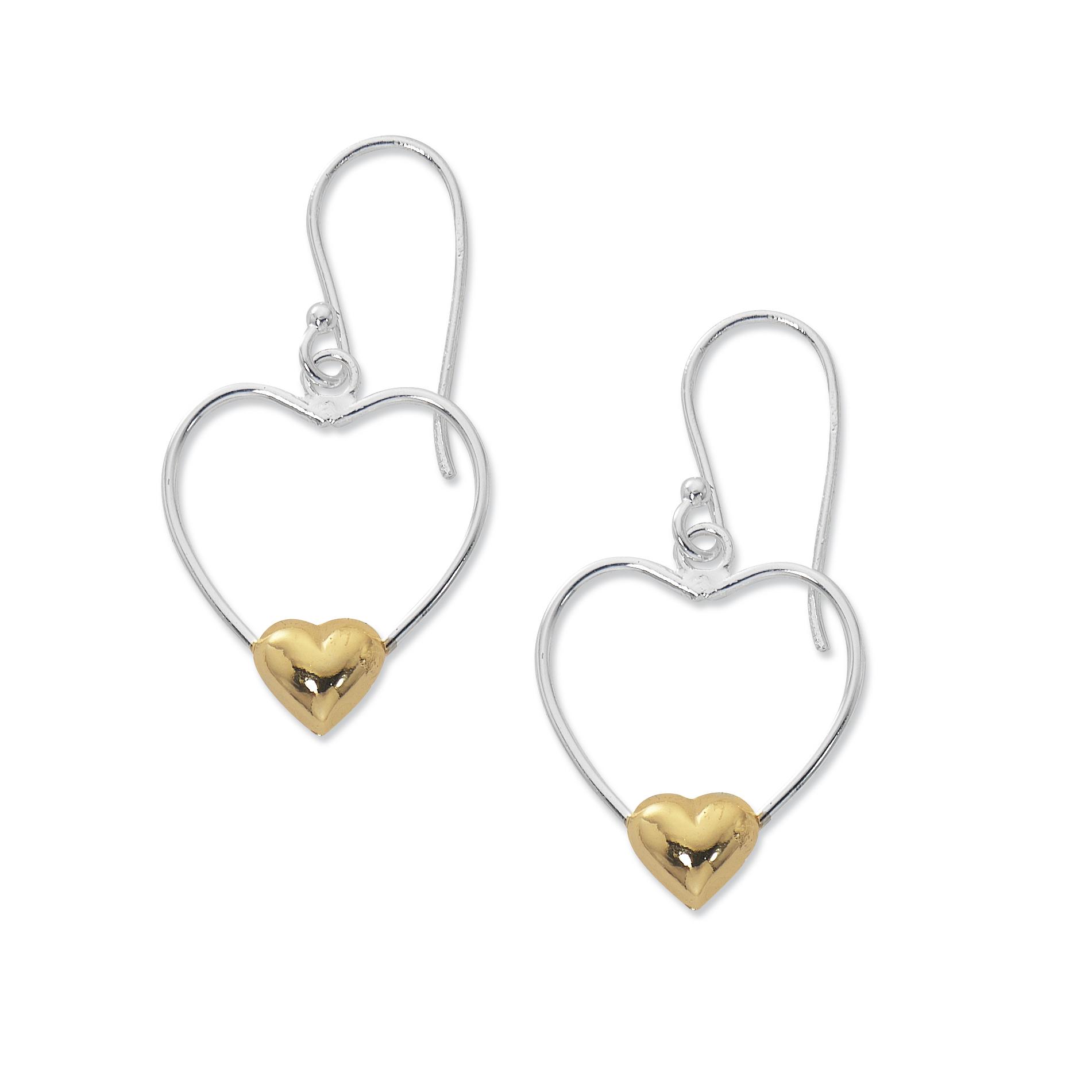 Primavera 24k Gold over Sterling Silver Two Tone Heart Drop Earrings