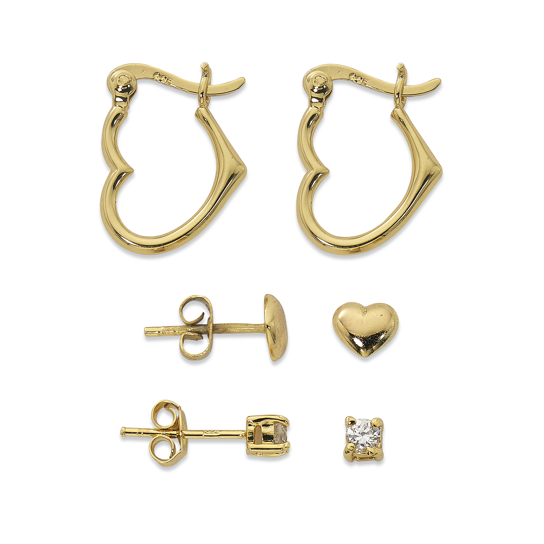 Primavera 24k Gold over Sterling Silver 3 Pair Cubic Zirconia Stud, Heart Stud and Heart Earring Set