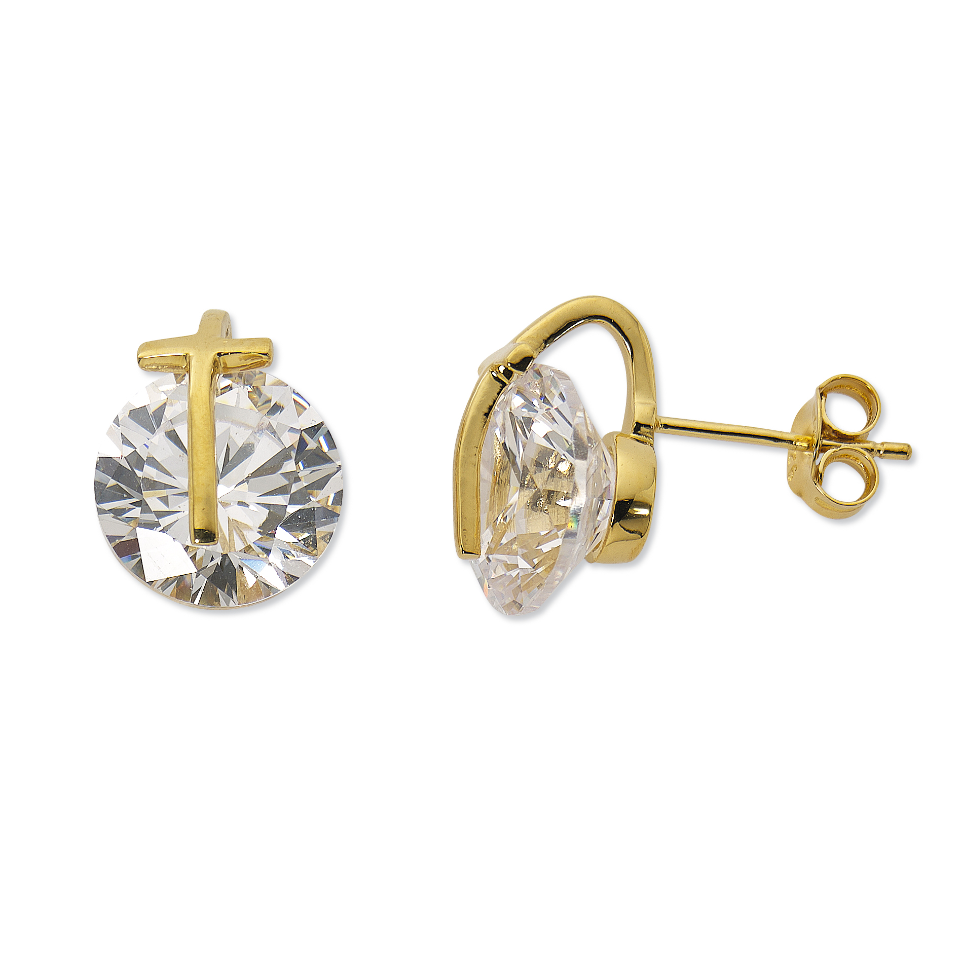 Primavera 24k Gold over Sterling Silver Cubic Zirconia with Cross Stud Earrings