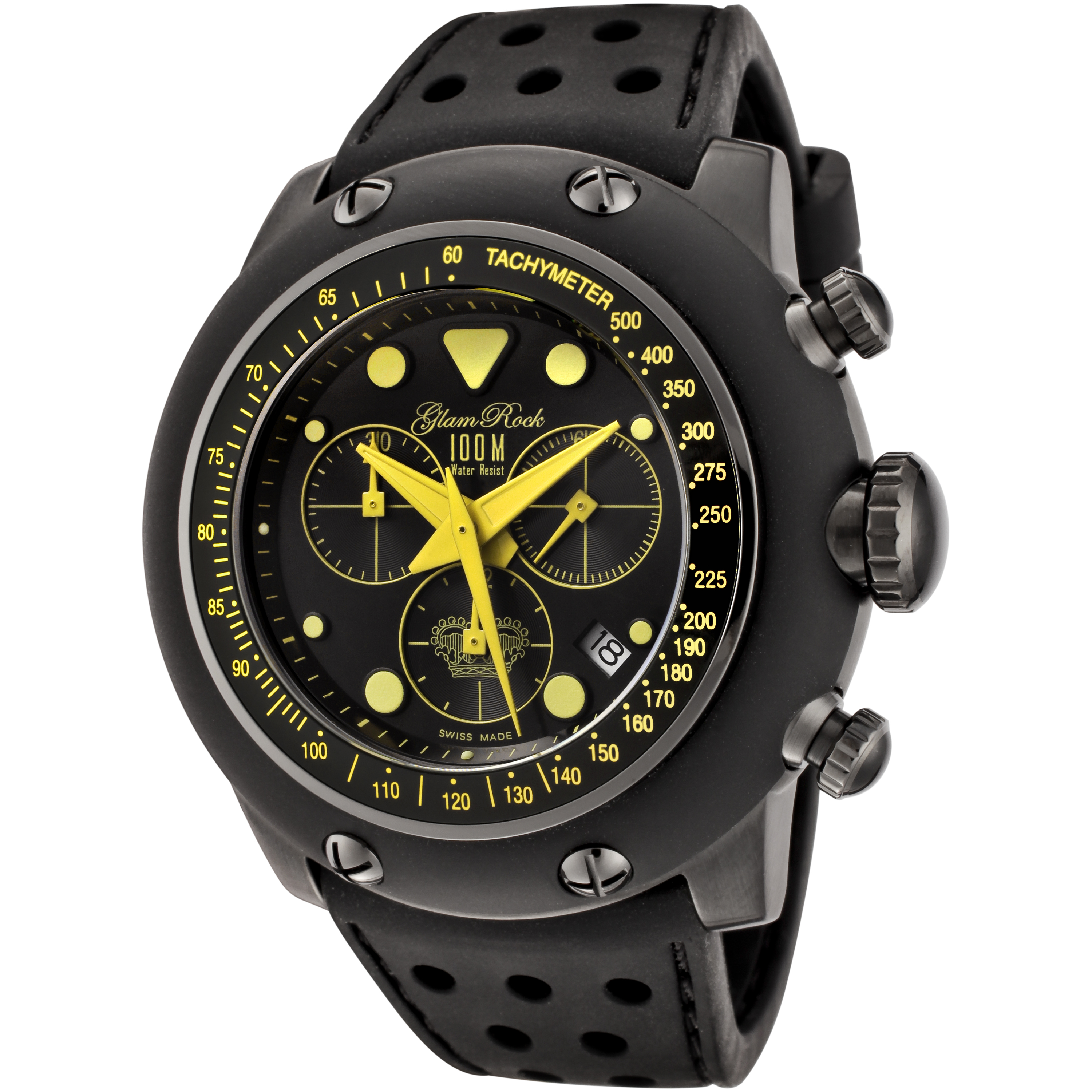 Glam Rock Race Track Chronograph Black Silicone and Dial Yellow Accents Black Ion Plated Stainless Steel PartNumber: 04480189000P KsnValue: 2184192 MfgPartNumber: LAMROCK-GR90112