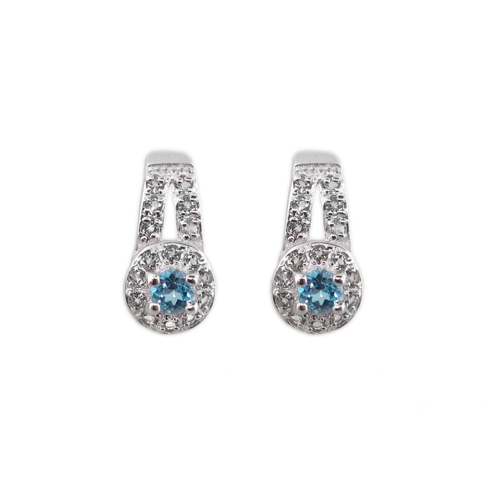 Sterling Silver 5mm Blue Topaz Round Halo Earrings