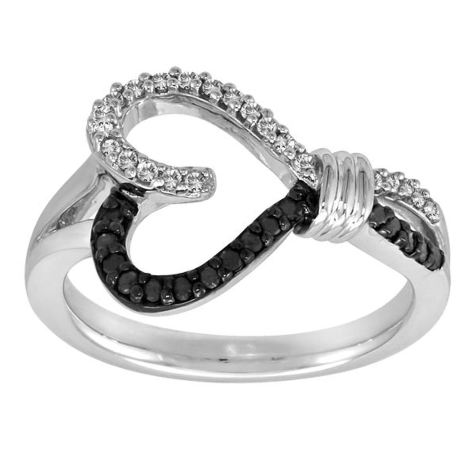 Knots of Love 1/4 Cttw. Black & White Diamond Sterling Silver Heart Ring - Size 7 Only