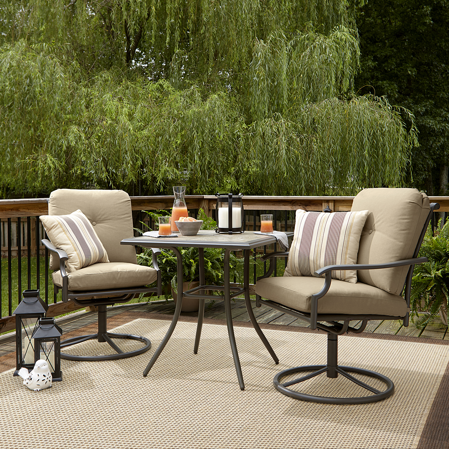 Garden Oasis Brookston 3-Piece Swivel Bistro Set - Stone *Limited Availability