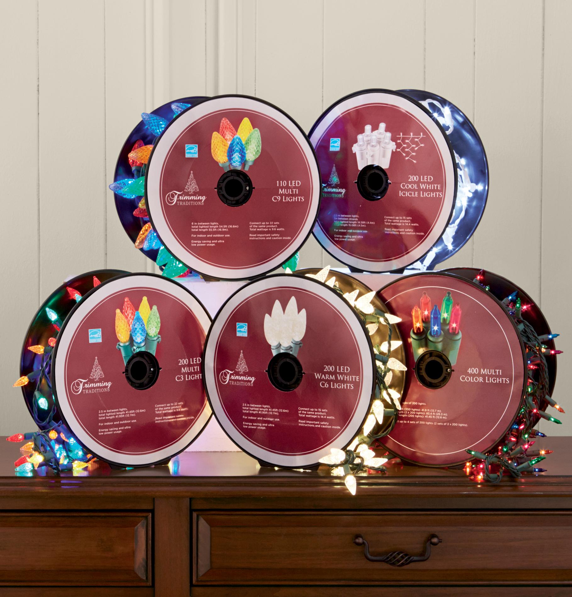 Trimming Traditions LED C3  Christmas  Lights on Reel - Warm White  200 Ct PartNumber: 07144829001P KsnValue: 07144829001 MfgPartNumber: TT-200L-C3