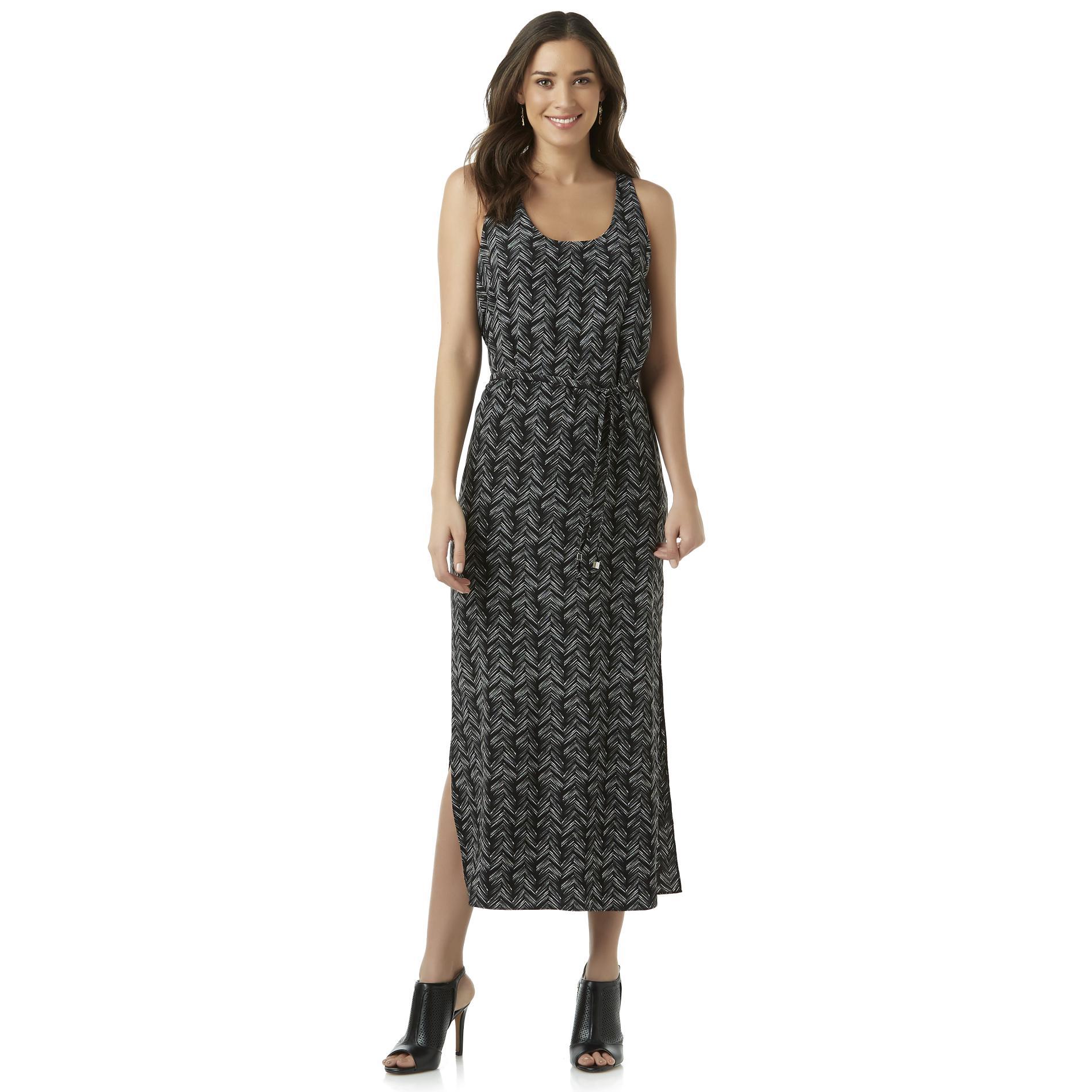Women's Sleeveless Maxi Dress - Herringbone