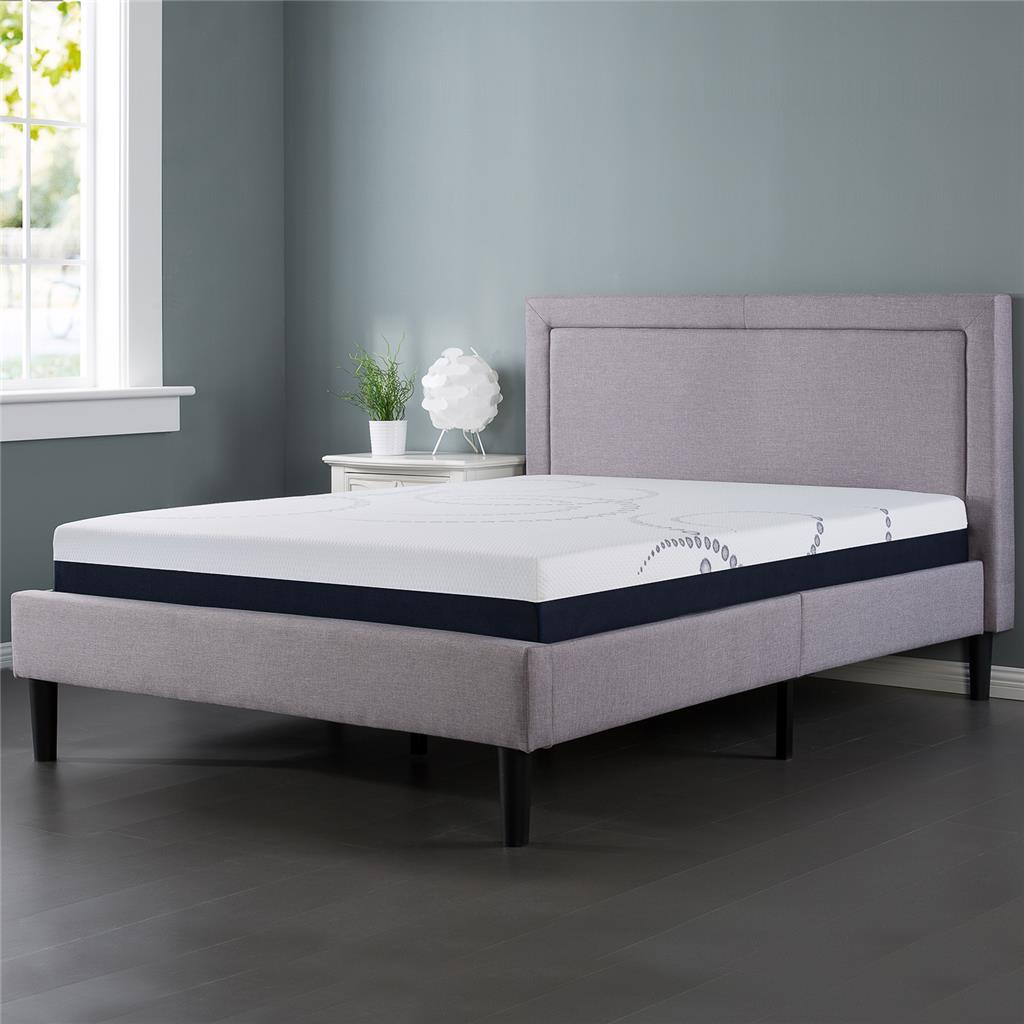 Night Therapy Upholstered Detailed Platform Bed with Wooden Slats-Queen