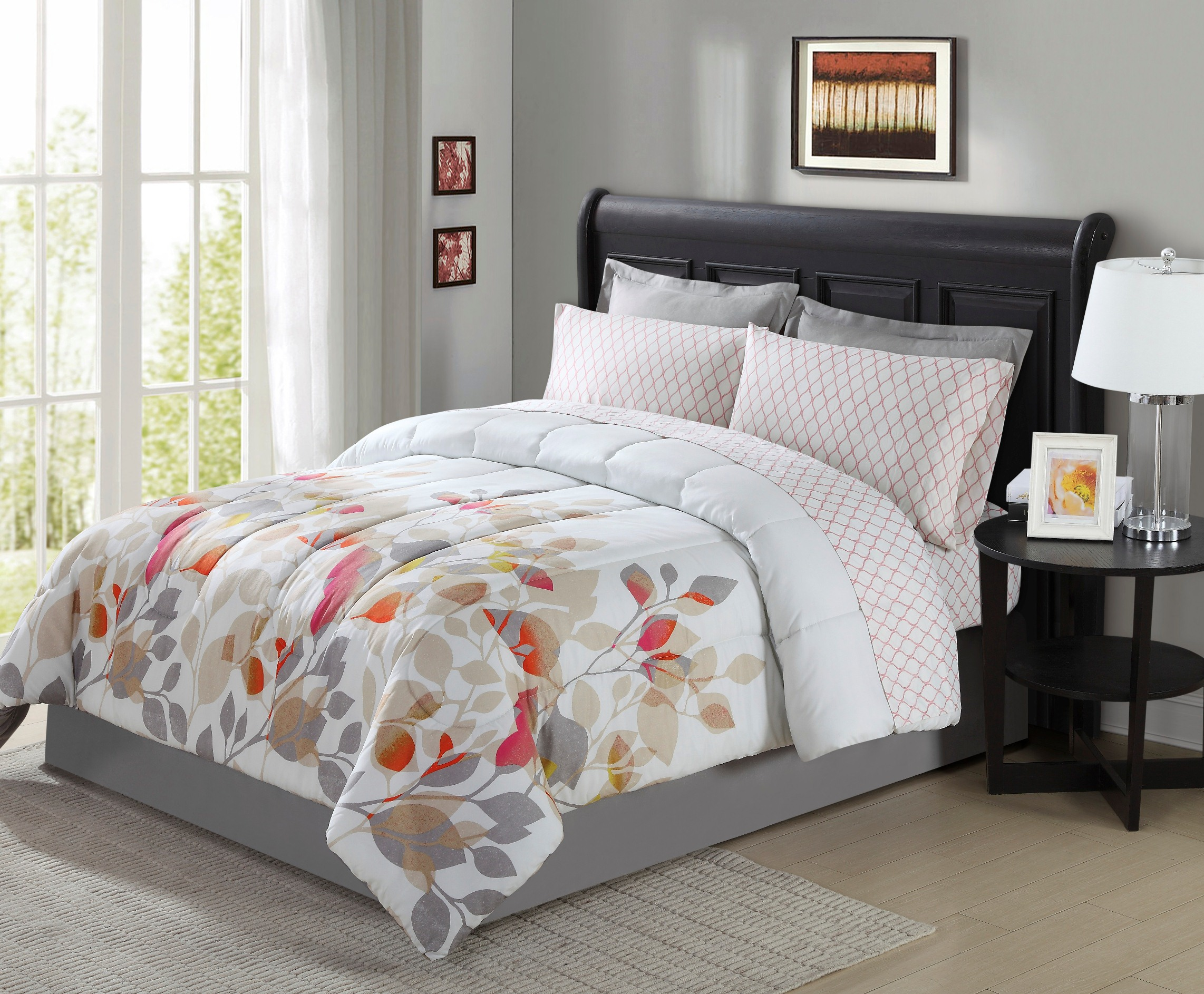 medallion gray sunrise and teal bedding crest home comforter overfilled grey set king pc pin oversized