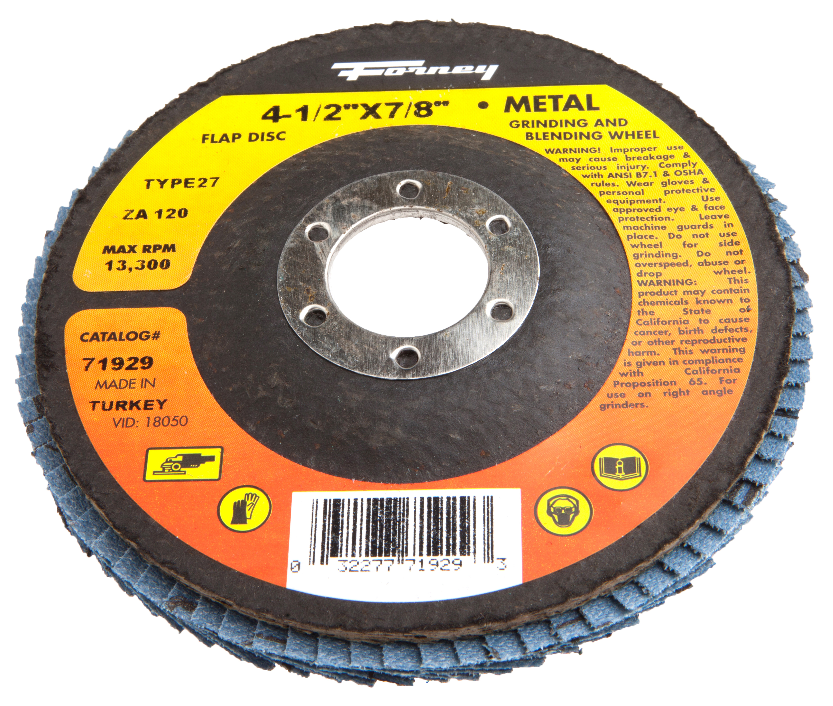 Forney Flap Disc  Type 27 Blue Zirconia with 7/8-Inch Arbor  120-Grit  4-1/2-Inch PartNumber: 00950091000P KsnValue: 8076061 MfgPartNumber: 71929