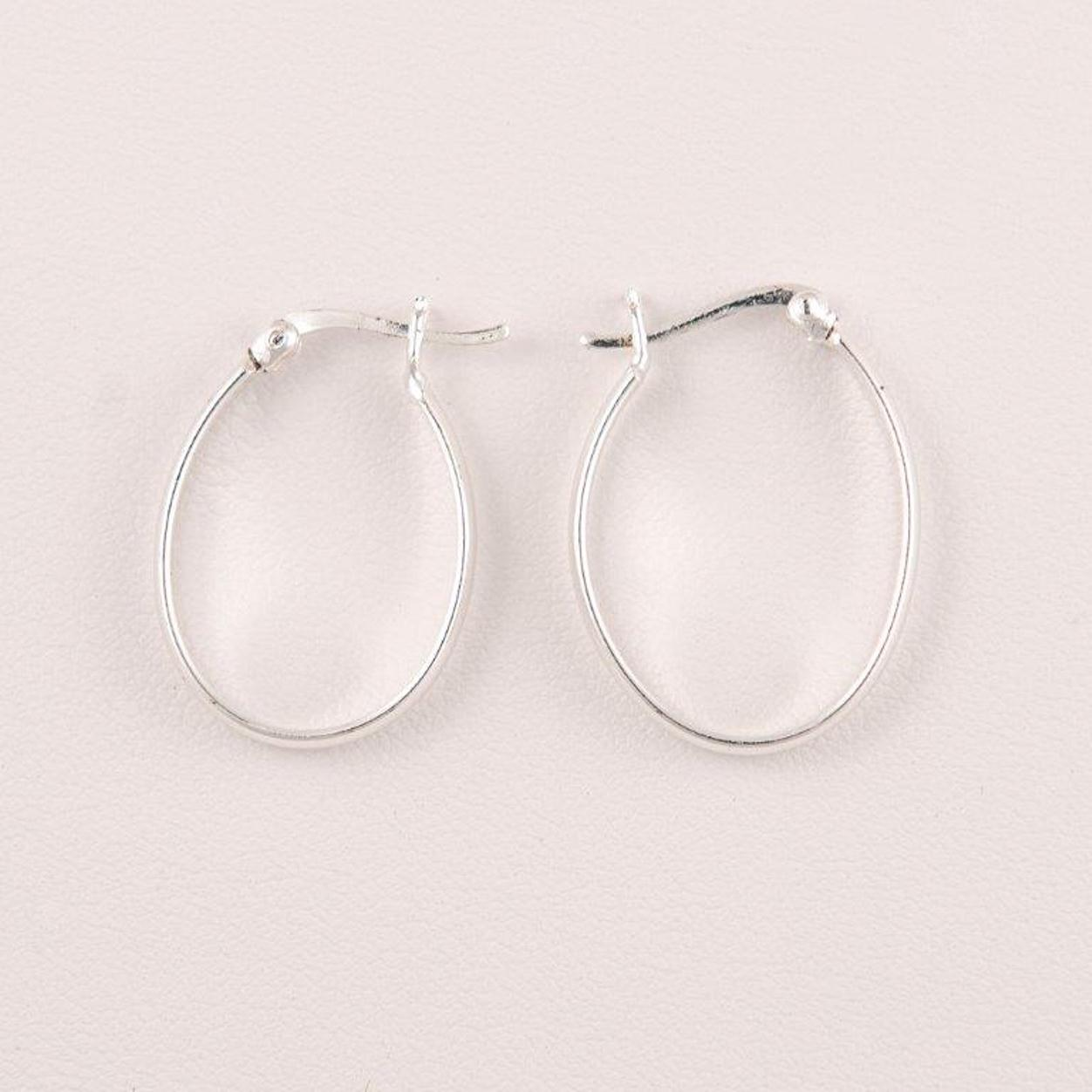 Primavera Pure 100 Silver Clicktop Smooth Oval Hoop Earring