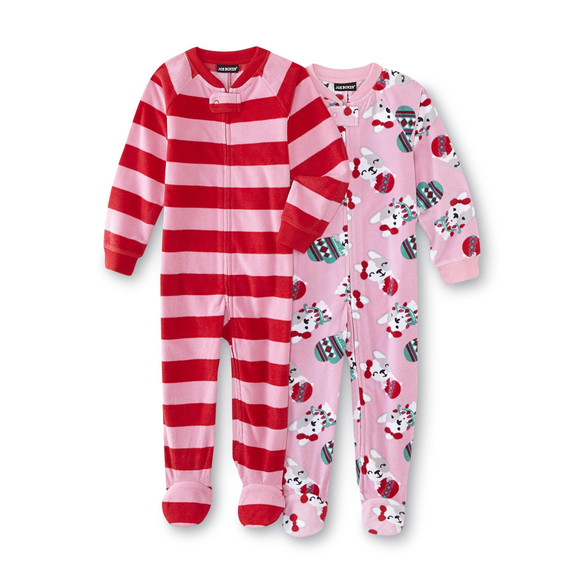 Joe Boxer Infant & Toddler Girls' 2 pk. Fleece Footed Pajamas