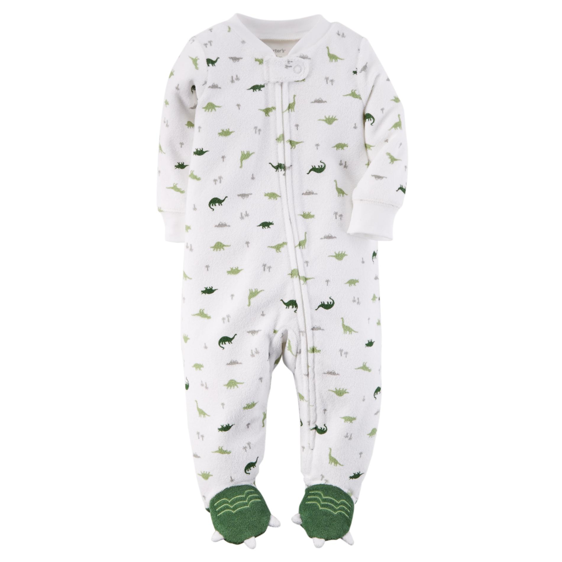 Carter's Newborn Boy's Terry Cloth Sleeper Pajamas - Dinosaur