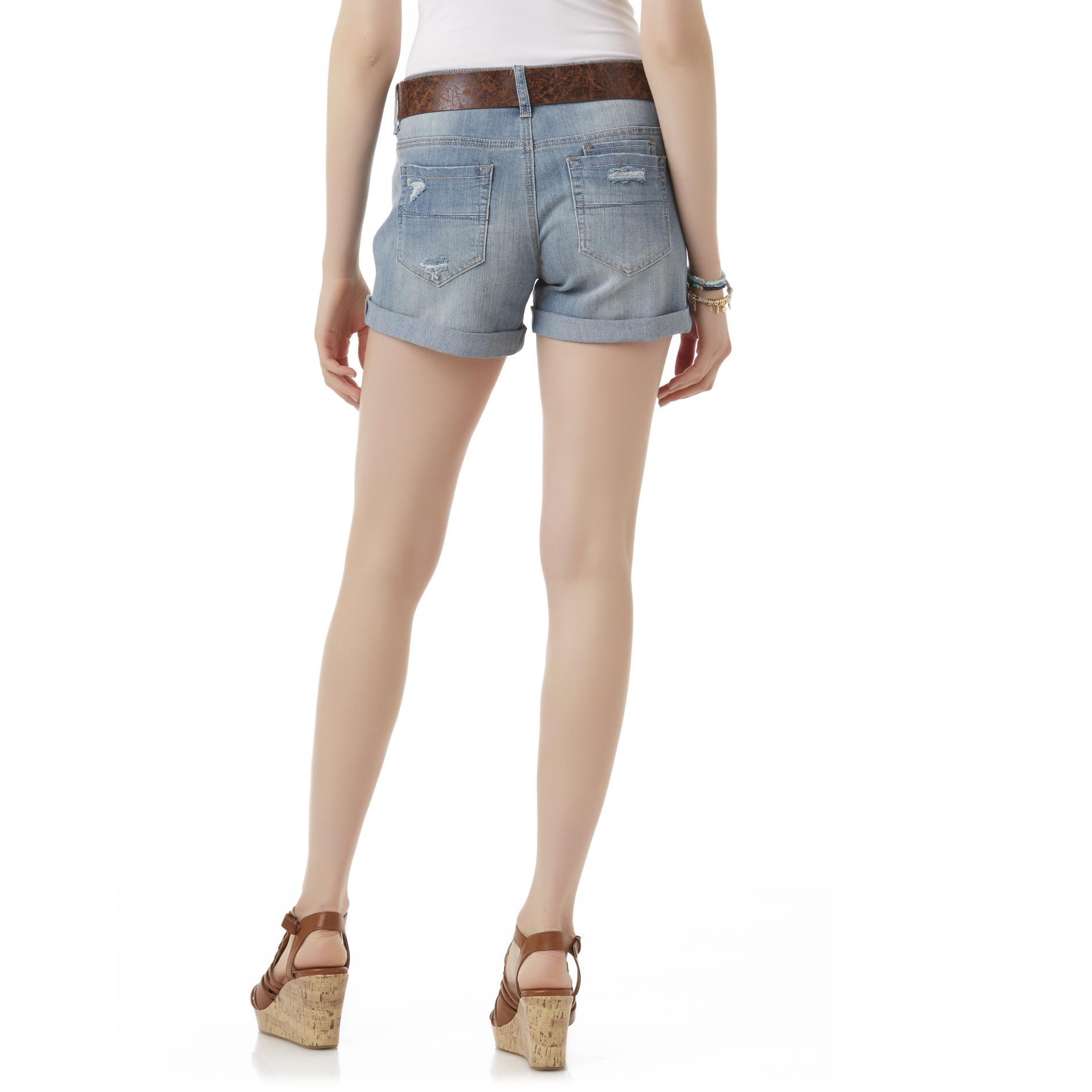 Bongo Junior's Denim Belted Shorts - Medium Wash
