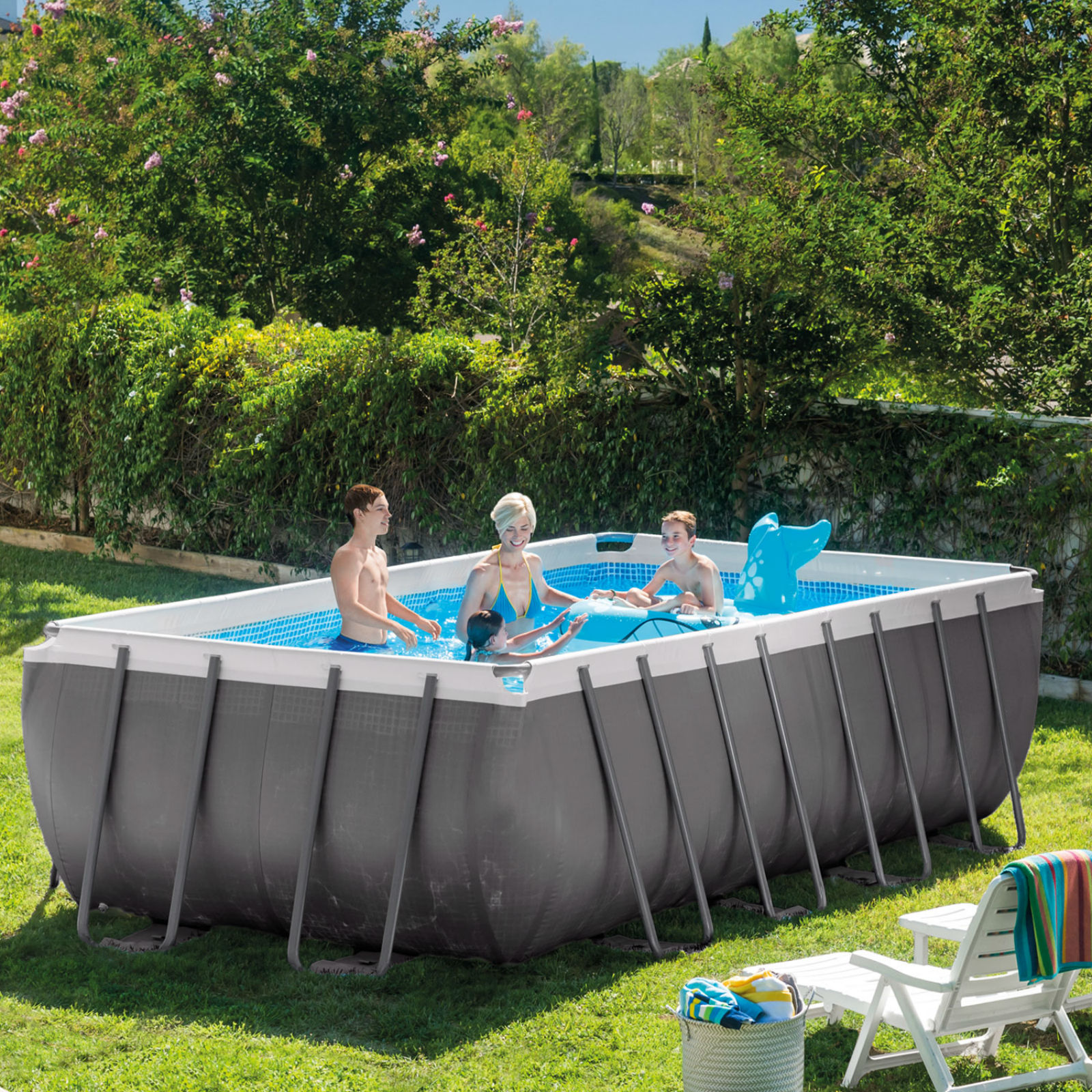 Intex 18 39 x 9 39 x 52 rectangular ultra frame pool with for Intex pool aktion