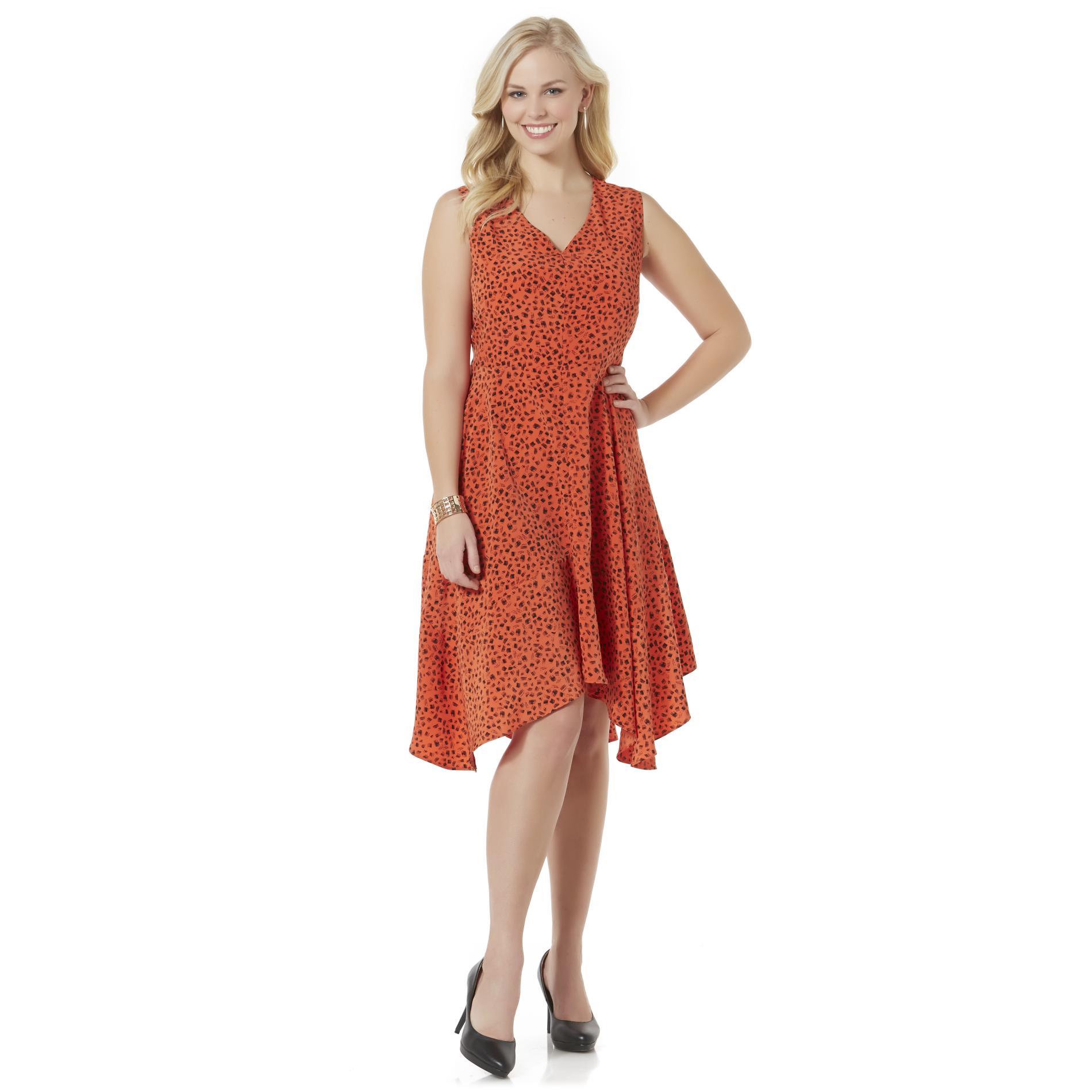 Women's Plus Handkerchief Hem Dress - Hatching