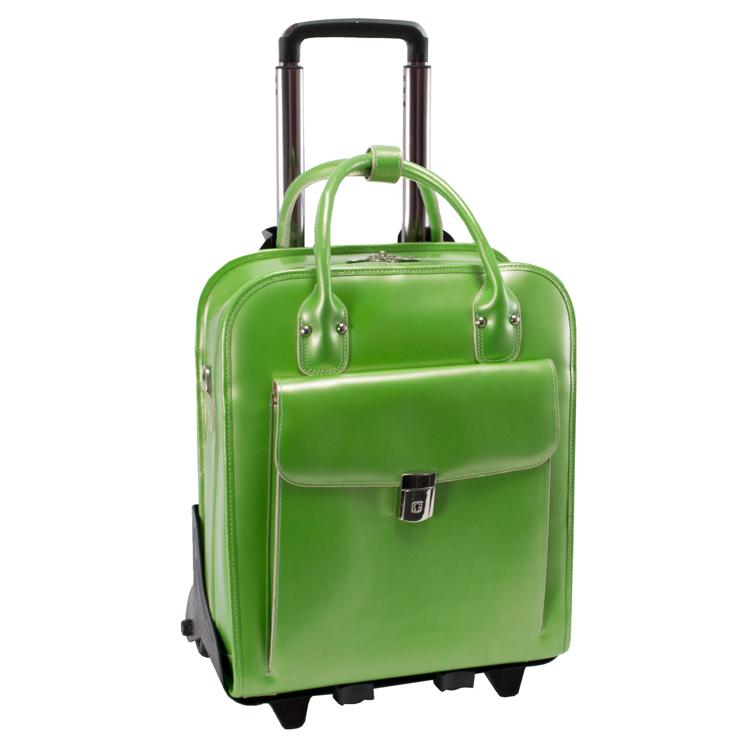 La Grange 96491 green leather vertical detachable-wheeled ladies' briefcase