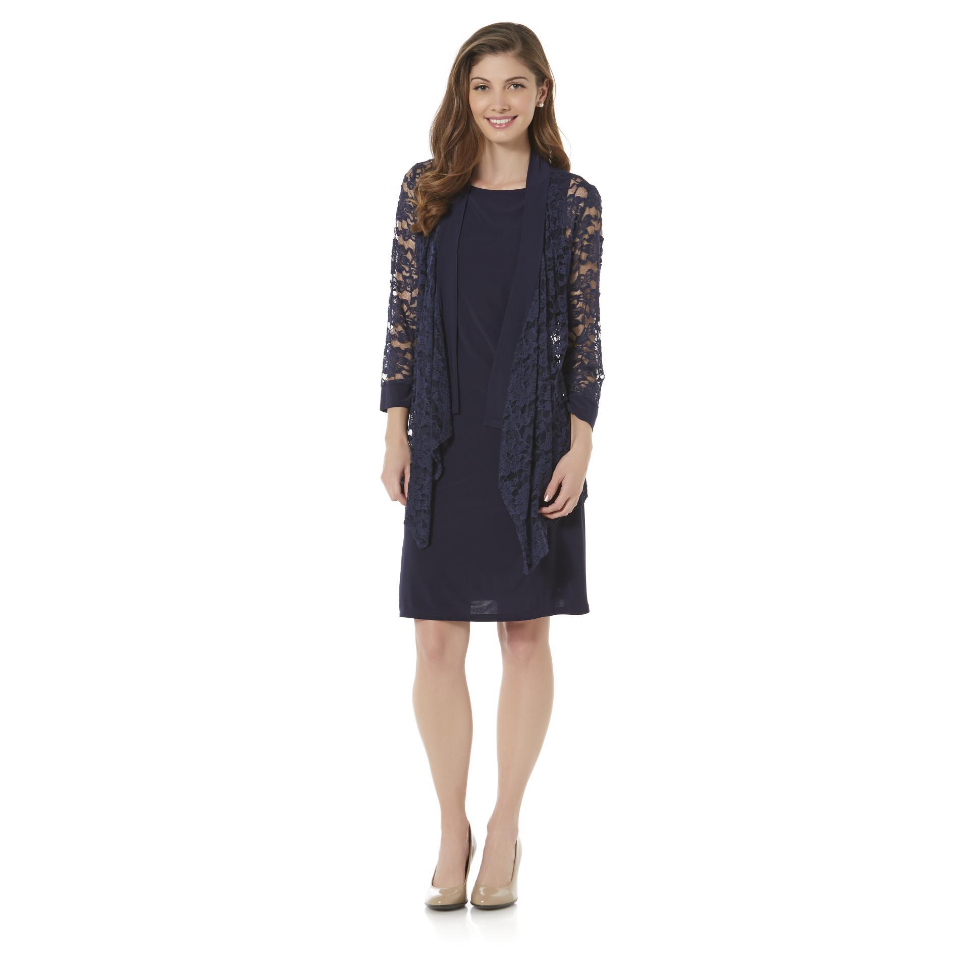 Covington Women 39 S Shift Dress Lace Jacket Sears