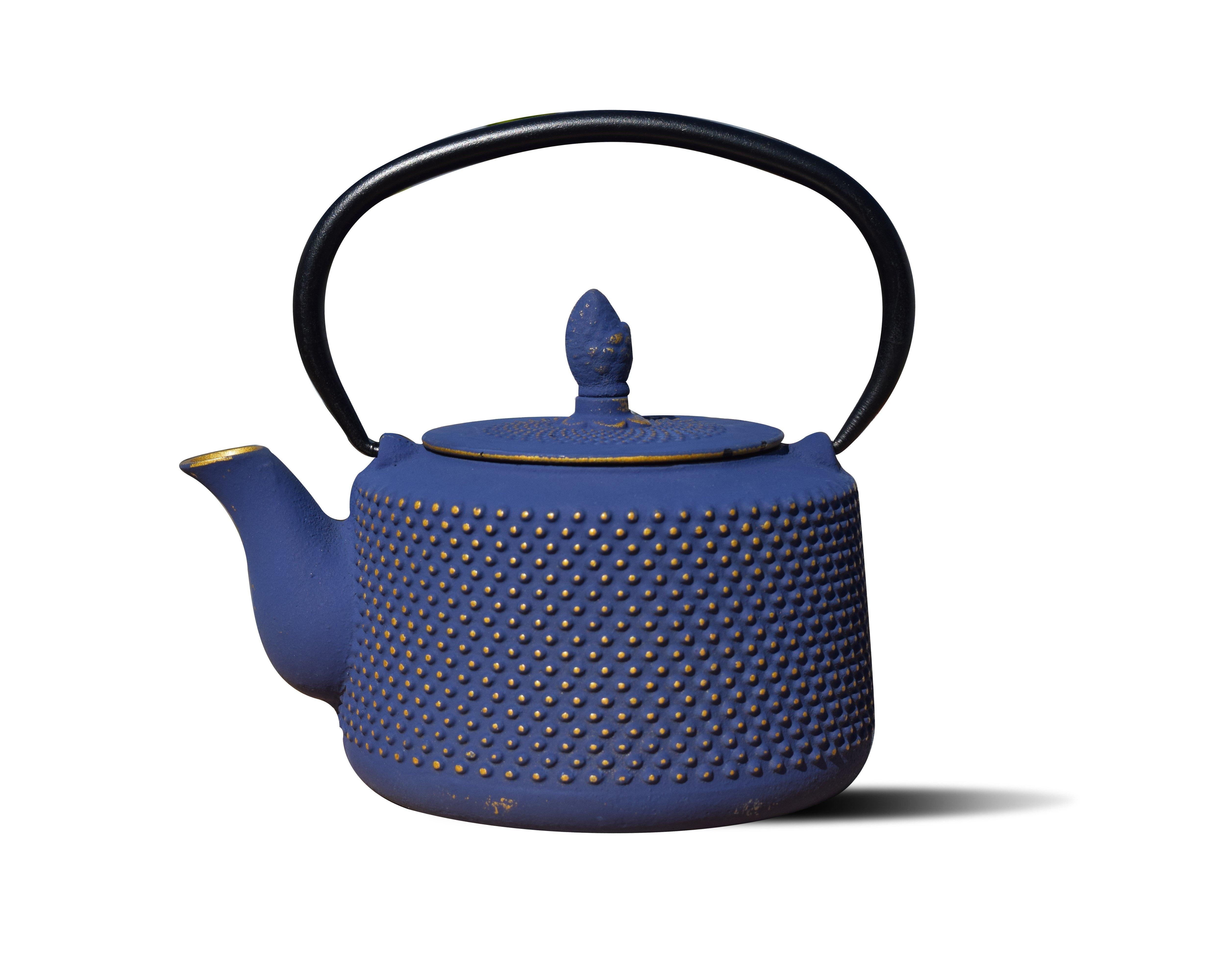 """Image of """"Old Dutch International Deep Blue/Gold Cast Iron """"""""Matsukasa"""""""" Teapot, 28 Oz., Black"""""""