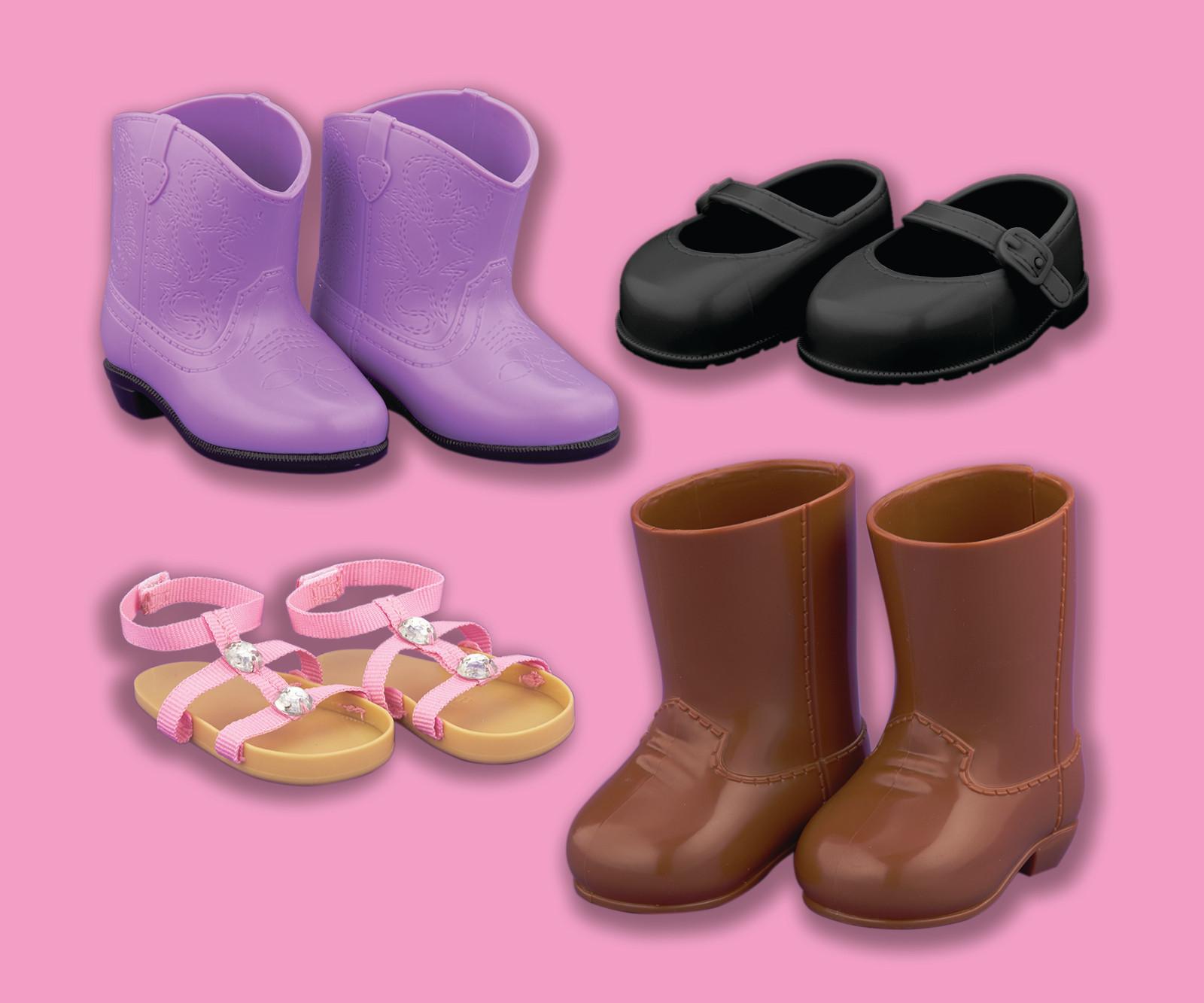 """Funrise Toy 18"""" Doll Shoes 4-Pack PartNumber: 004W003670307005P KsnValue: 3670307 MfgPartNumber: 24799"""