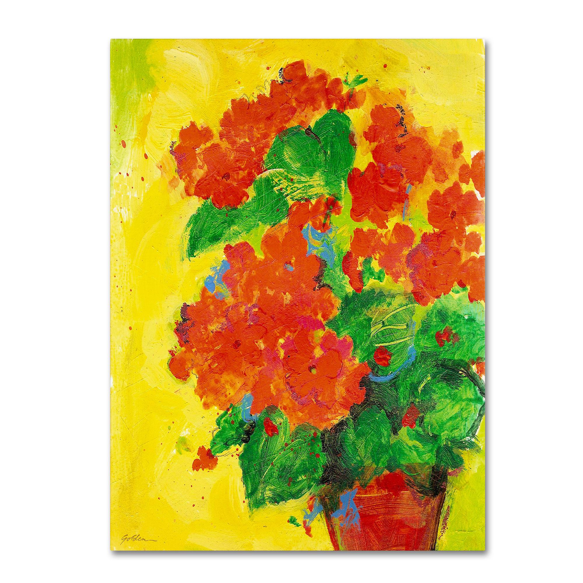 Trademark Global Sheila Golden 'Geraniums Against Yellow' Canvas Art PartNumber: 021V004806034000P KsnValue: 4806034 MfgPartNumber: SG5706-C3547GG