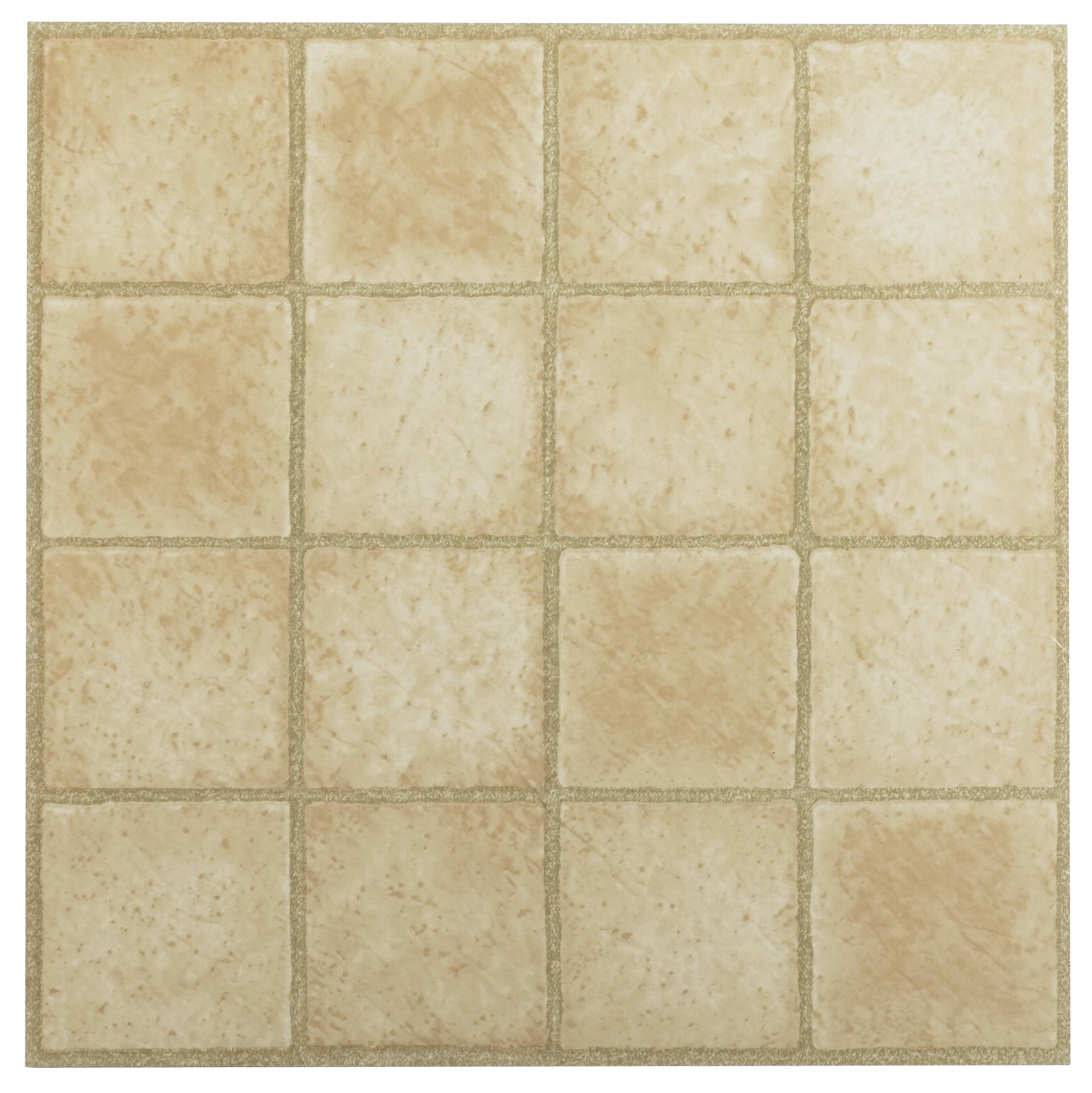 Achim Tivoli 16 Square Sandstone 12x12 Self Adhesive Vinyl Floor Tile