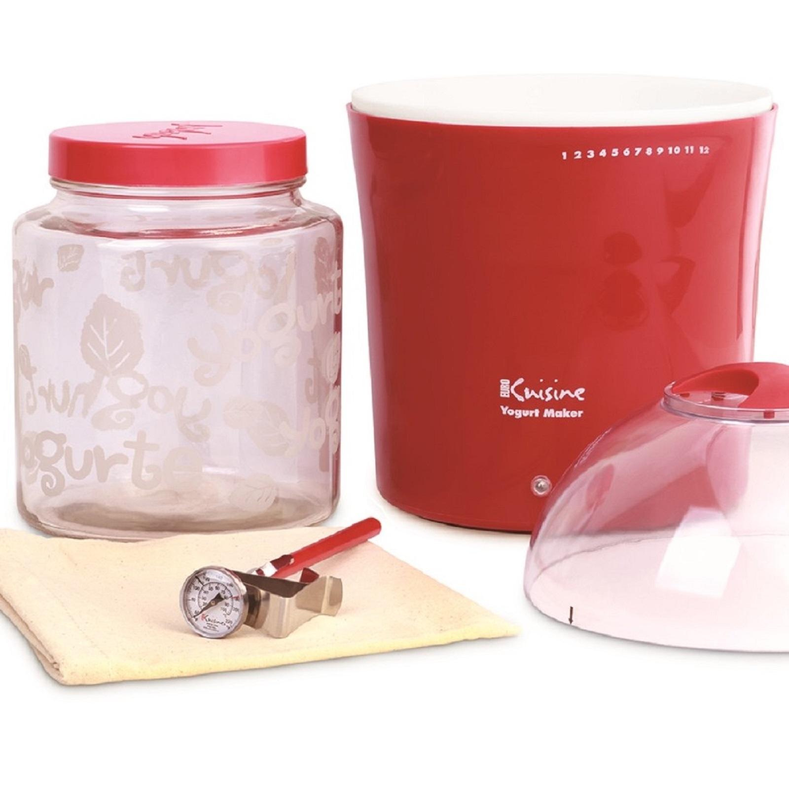 Euro Cuisine YM460 2Qt Yogurt & Greek Yogurt Maker With Glass Jar (Red) PartNumber: 00821707000P KsnValue: 4655074 MfgPartNumber: YM460
